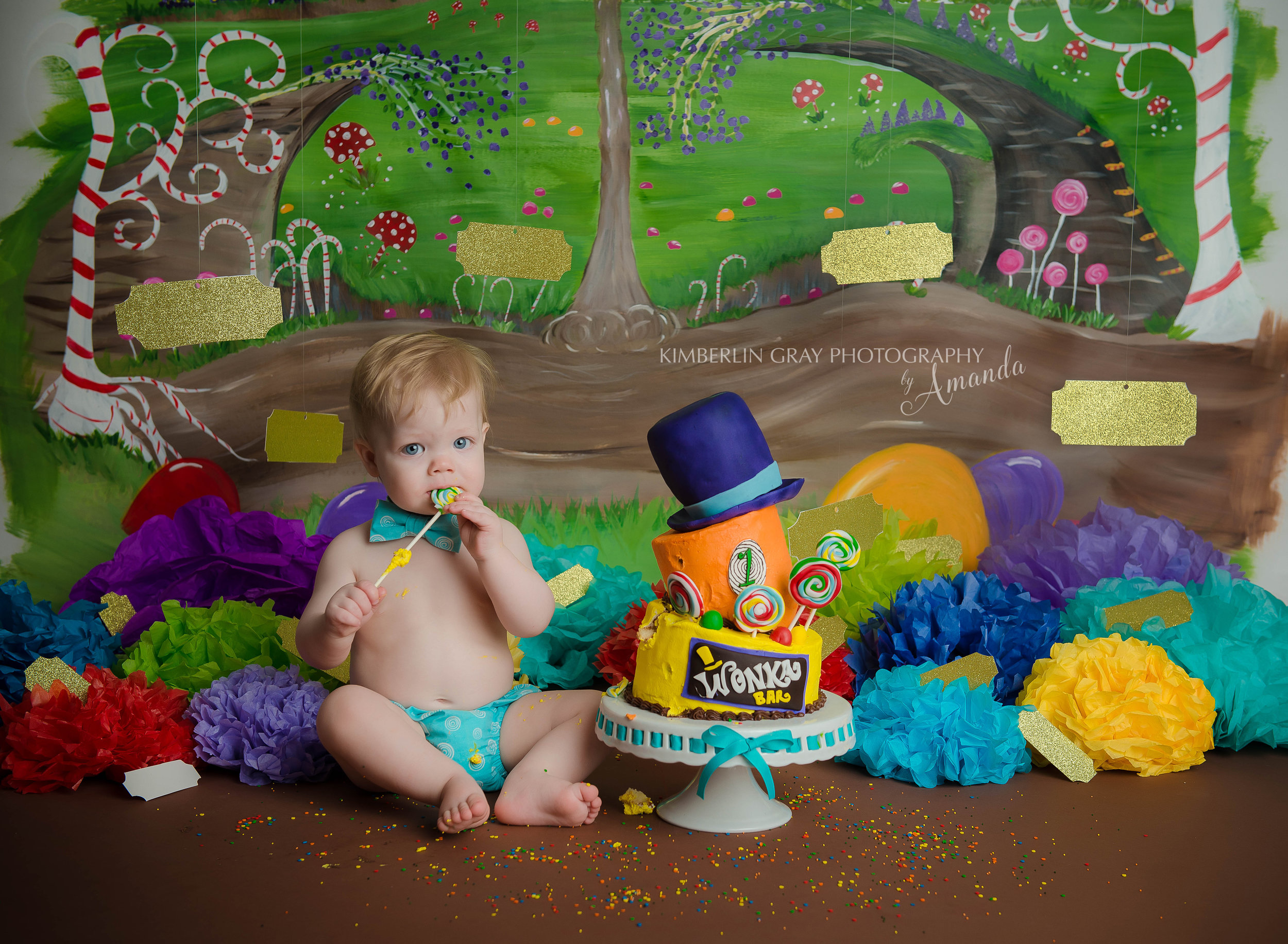 Willy Wonka Themed Birthday Cake Smash Photographer