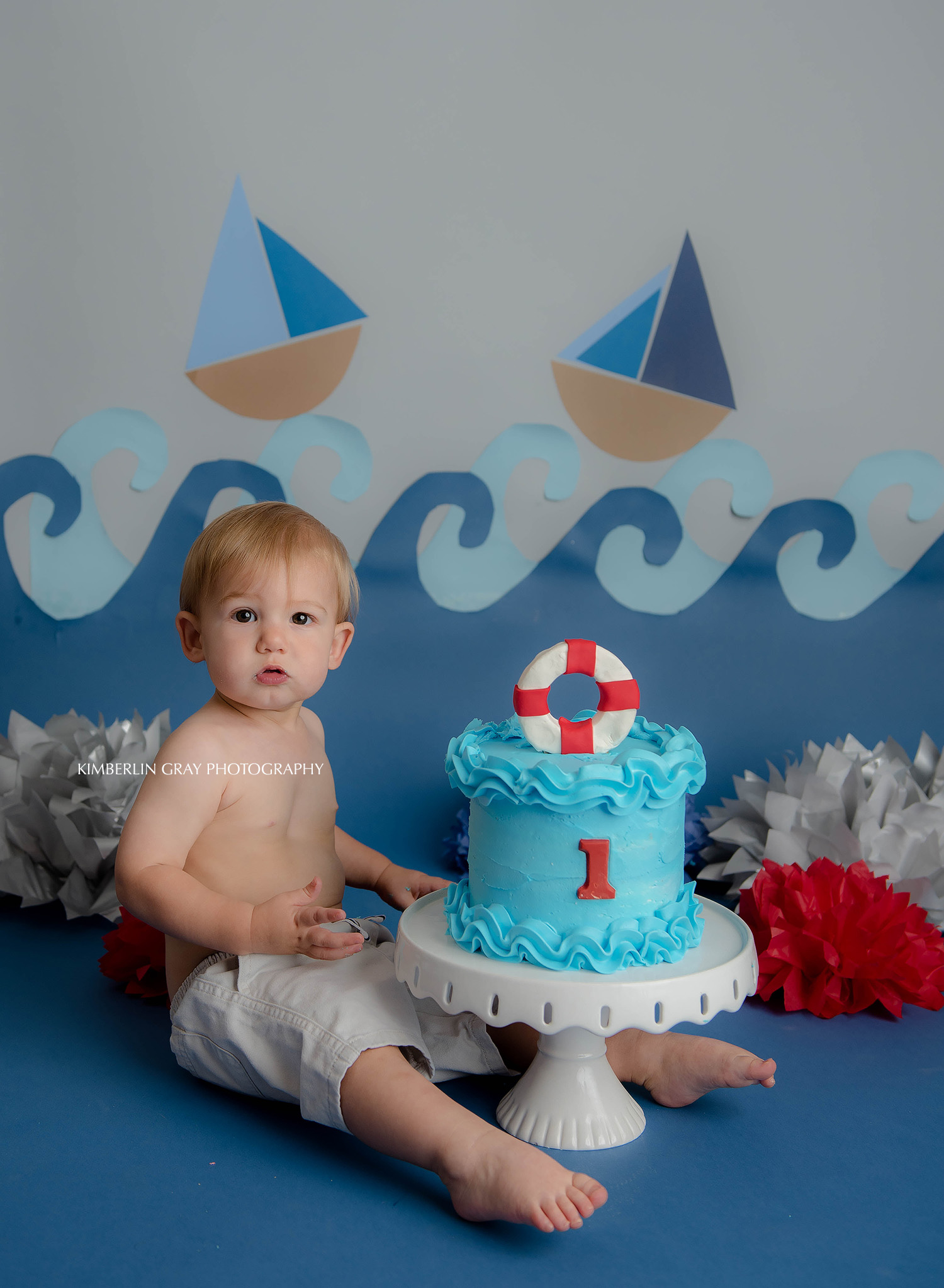 Beach Sailboat Waves First Birthday Cake Smash