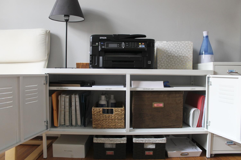 After | Cabinet -  Ikea PS  | Chair -  Ikea Pello | Printer -  Epson Workforce 3620  | Files -  Target Nate Berkus  | File Holder -  Target  | Guests Basket - Target | Bottom Baskets -  Target  | Scrap Paper Holder -  Target