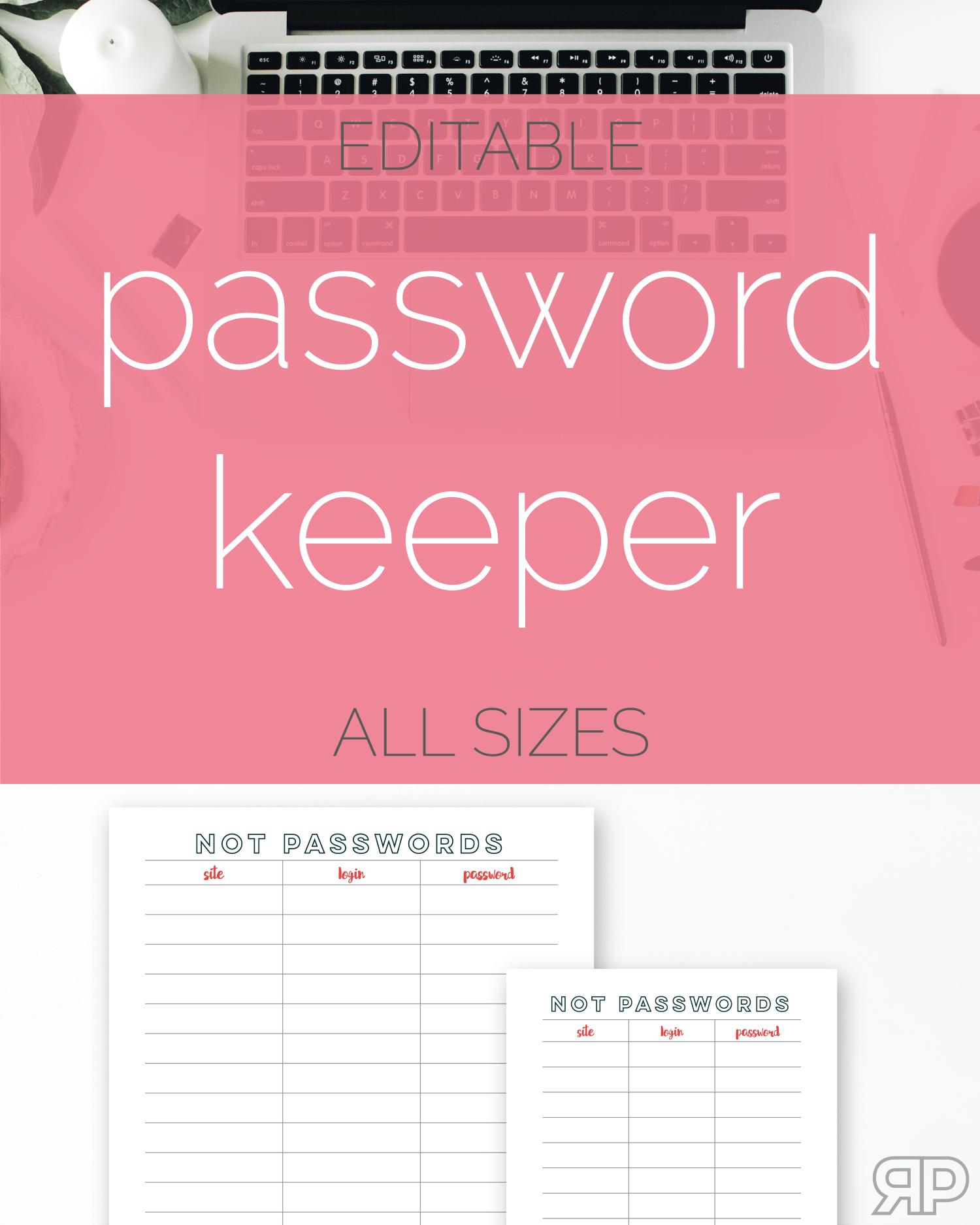 Password Keeper Freebie | Rourke Planners