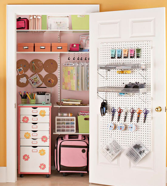 Better Homes & Gardens  - If you're lucky enough to have a closet for your supplies, use all parts of it! This closet features classic shelves rolling storage pieces on the floor and a pegboard on the door for frequently used supplies. You can also add hooks and mini shelves on all the closet walls.