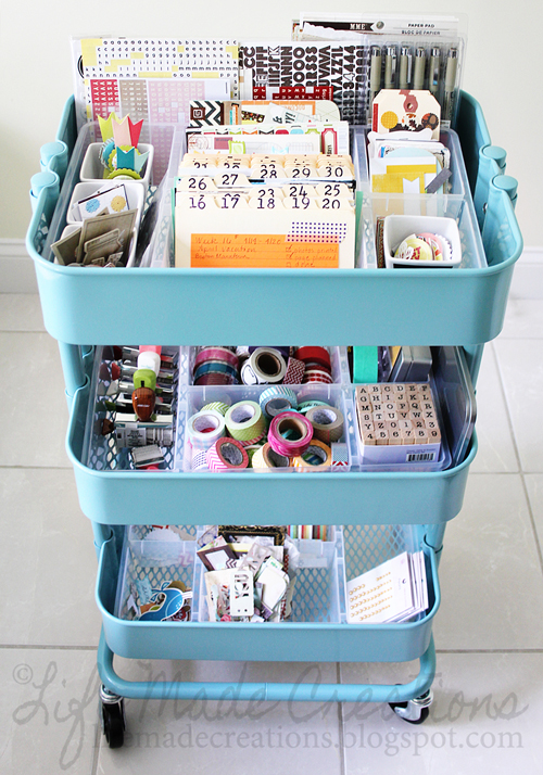 Life Made Creations  - If you're an avid crafter, and that craft uses a lot of pieces, something like a cart will be perfect. This scrapbook cart holds all the most important pieces, can easily be put away and taken out.