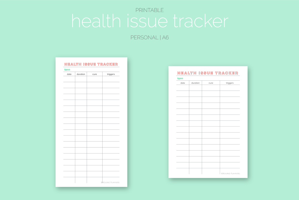 Health Issue Tracker Freebie   Rourke Planners