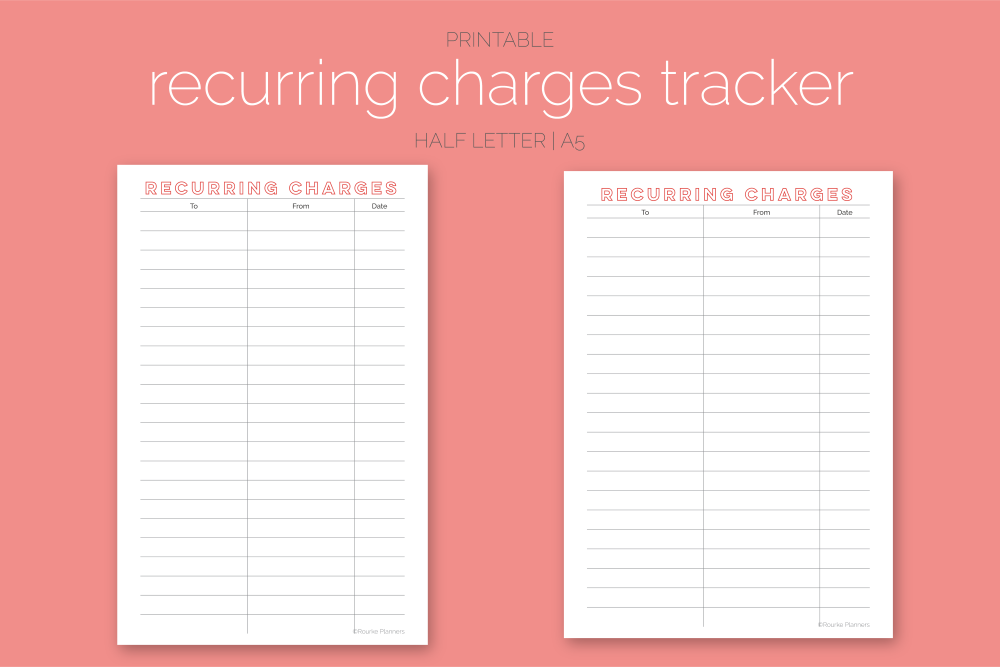 Recurring Charges Tracker Freebie | Rourke Planners