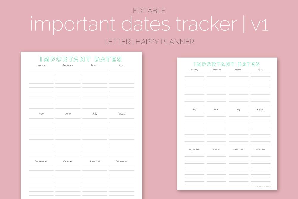 Important Dates Trackers Freebie   Rourke Planners