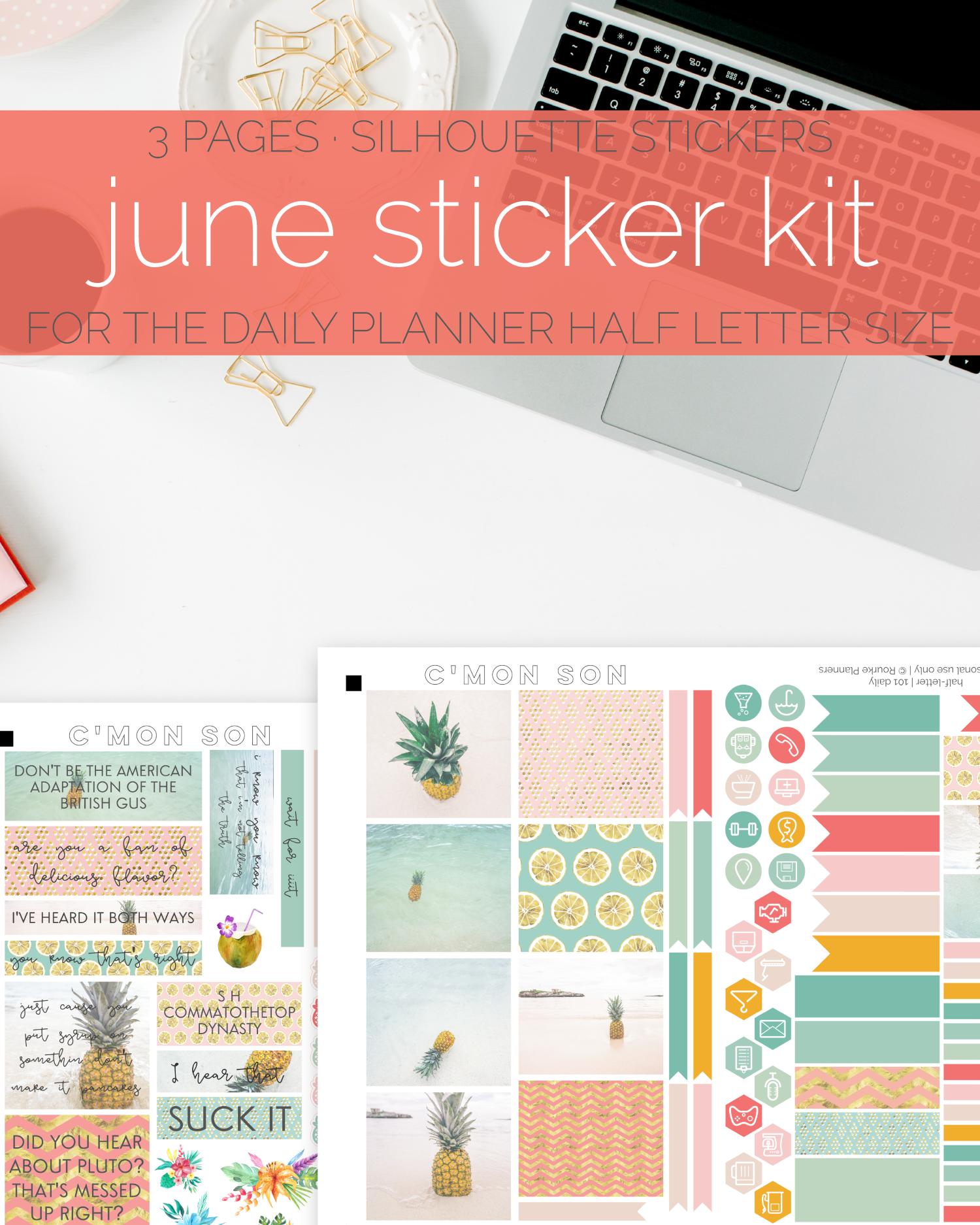 June Pineapple Sticker Kit | Rourke Planners
