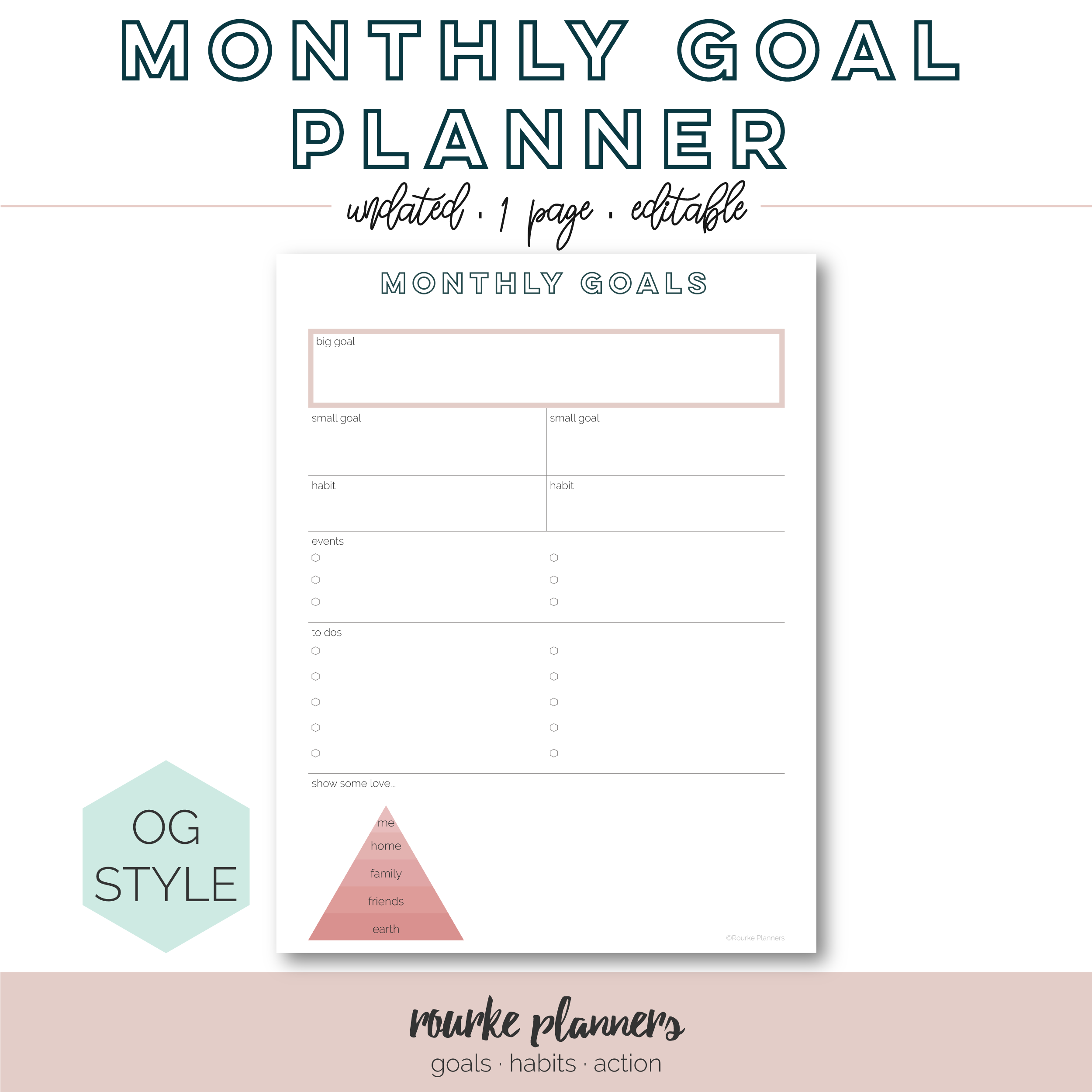 Monthly Goal Planner Free Printable | Rourke Planners