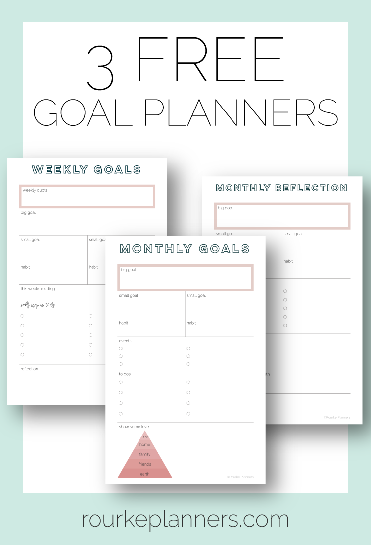 3 Free Goal Planners | Rourke Planners