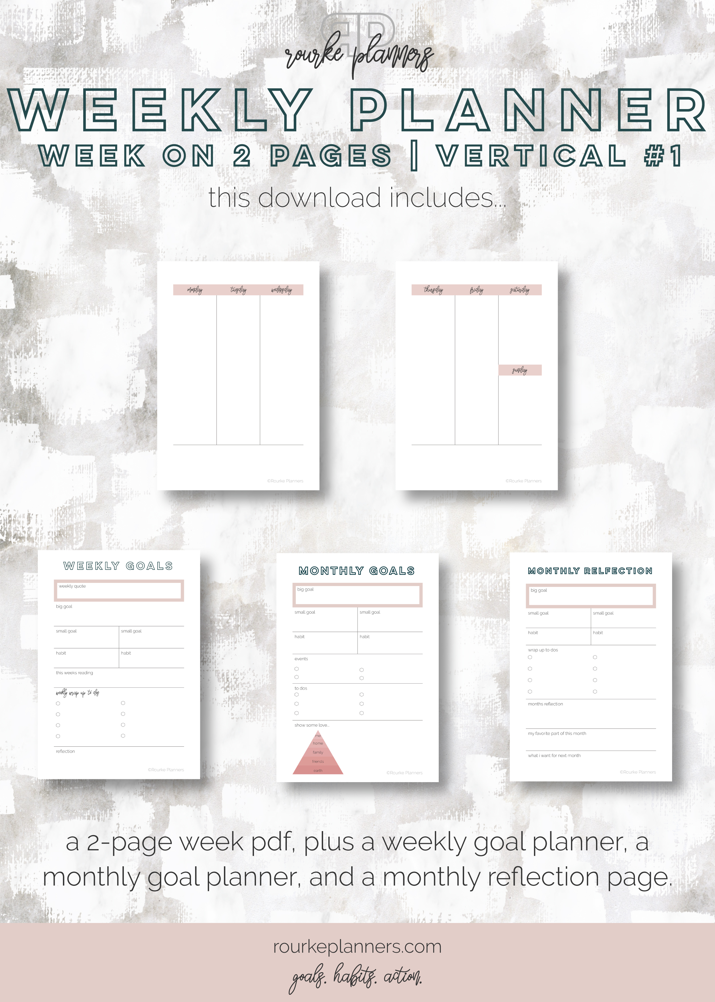 Weekly Vertical Planner #1 | A6 Size, OG Style, Undated | Rourke Planners