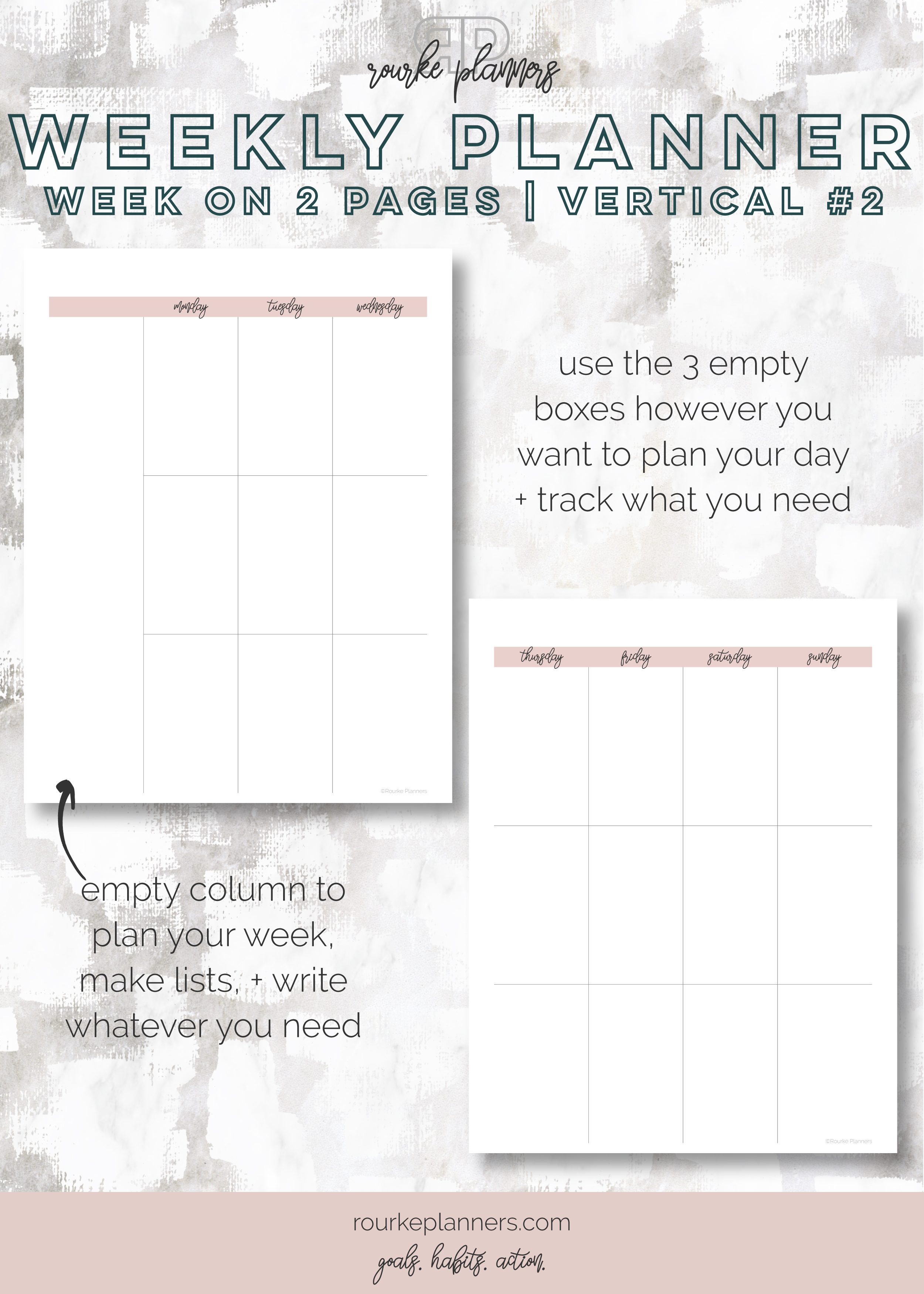 Weekly Vertical Planner #2   Letter Size, OG Style, Undated   Rourke Planners