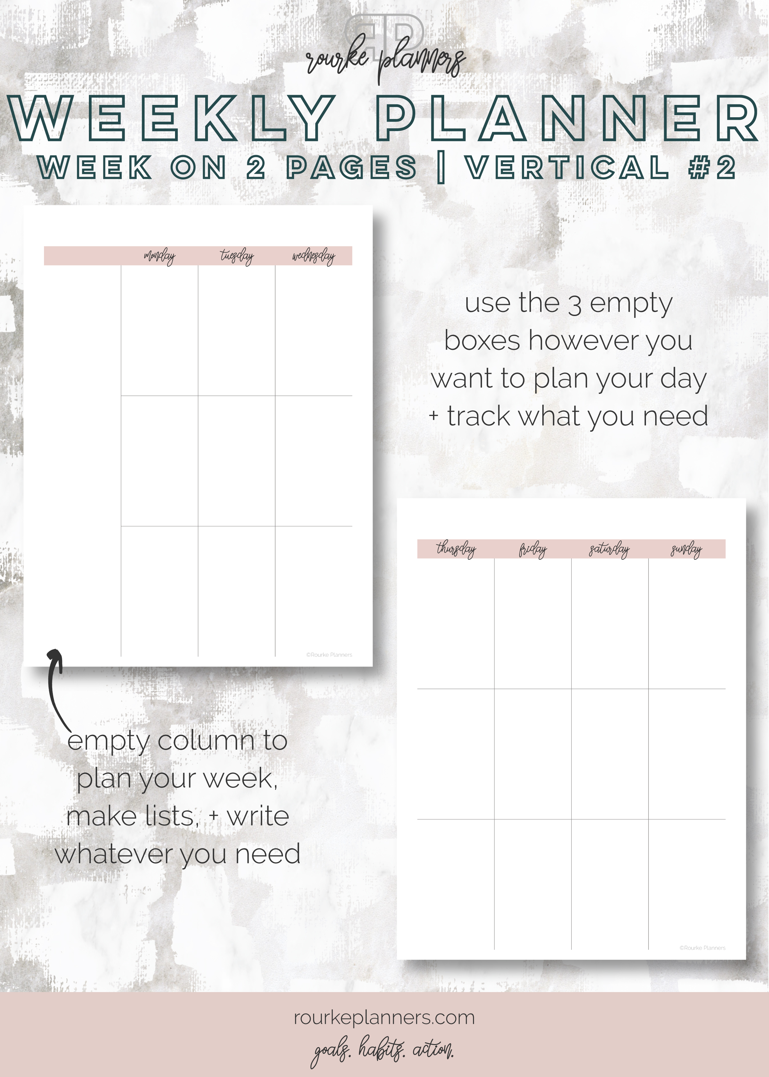 Weekly Vertical Planner #2   Happy Planner Size, OG Style, Undated   Rourke Planners