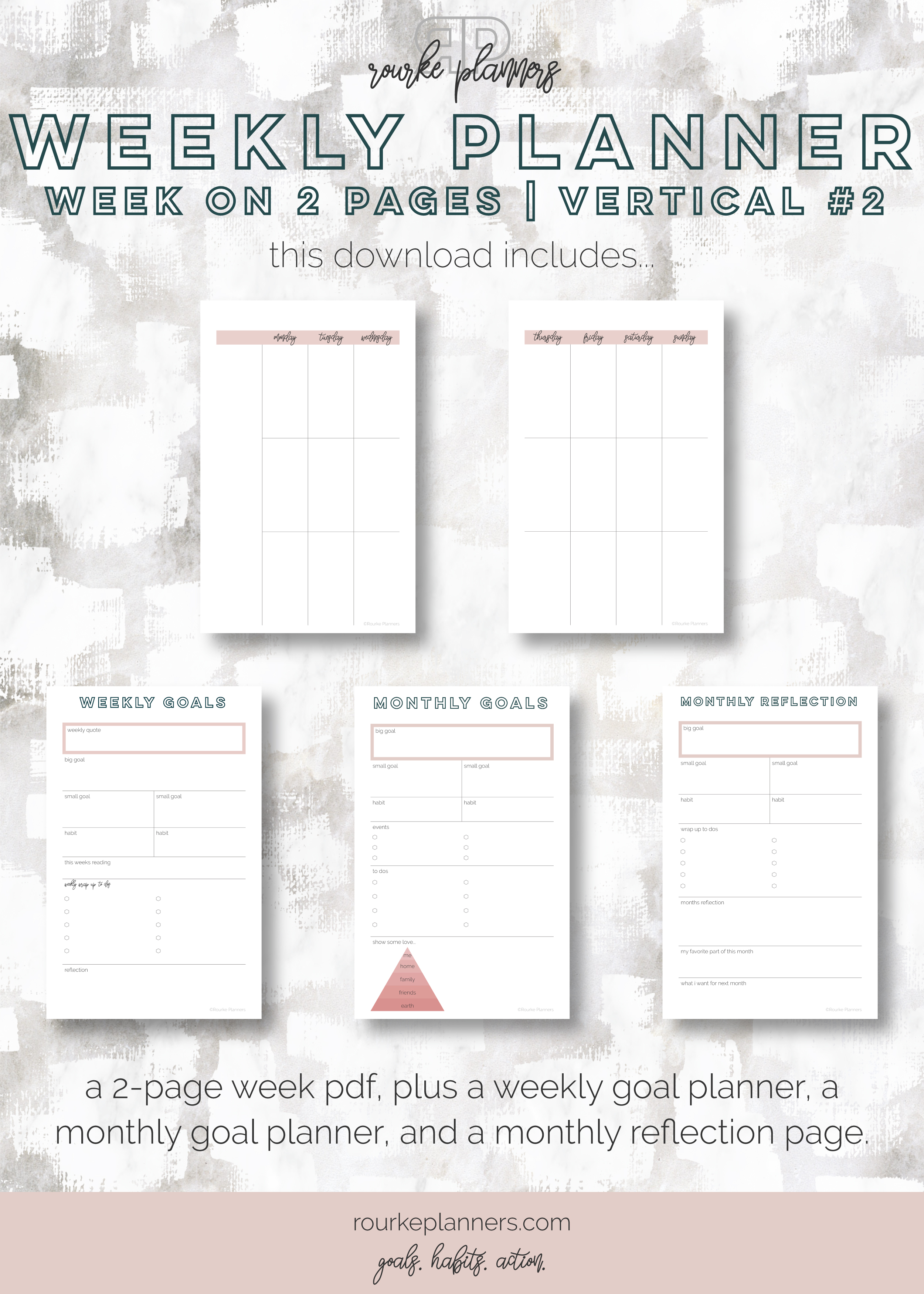 Weekly Vertical Planner #2   Half Letter Size, OG Style, Undated   Rourke Planners