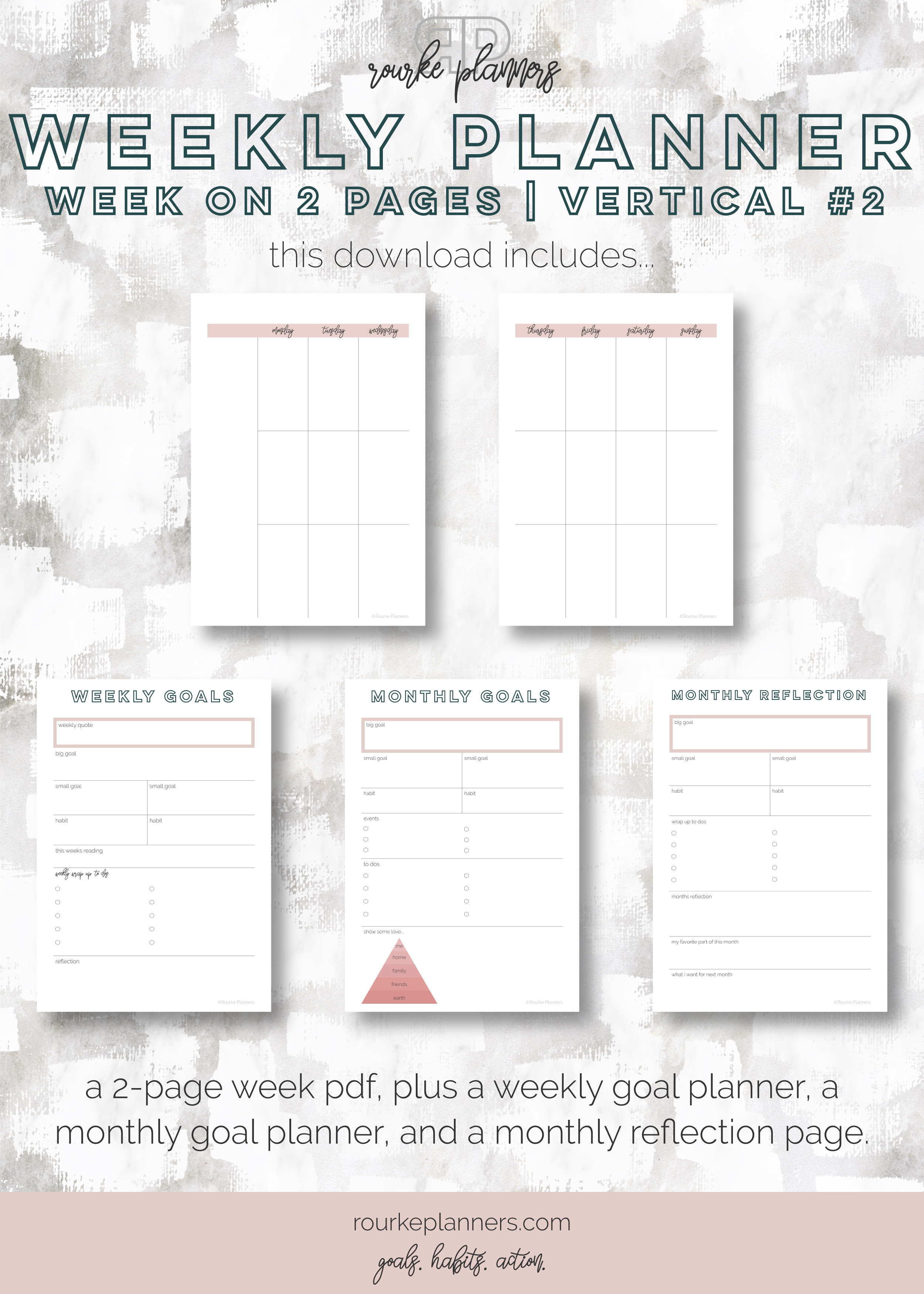 Weekly Vertical Planner #2   A5 Size, OG Style, Undated   Rourke Planners