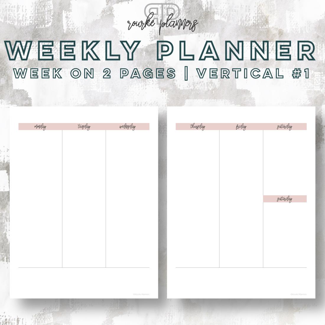 Weekly Vertical Planner #1 | Rourke Planners