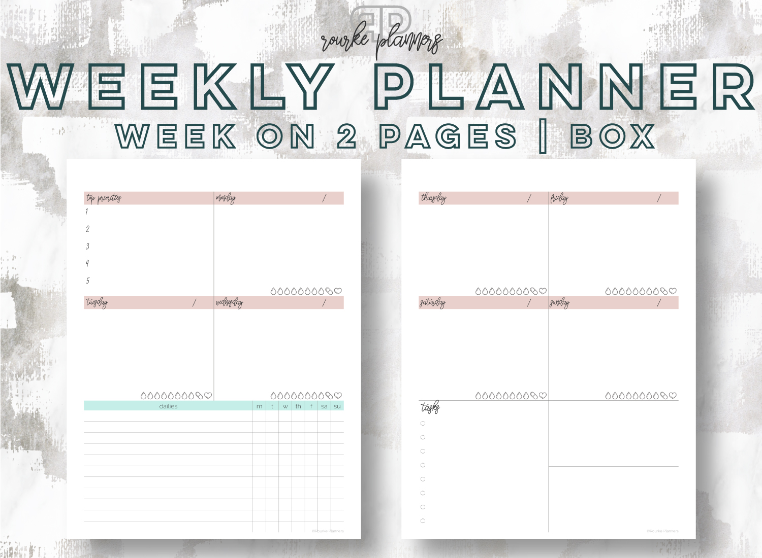 The Weekly Box Planner   Rourke Planners