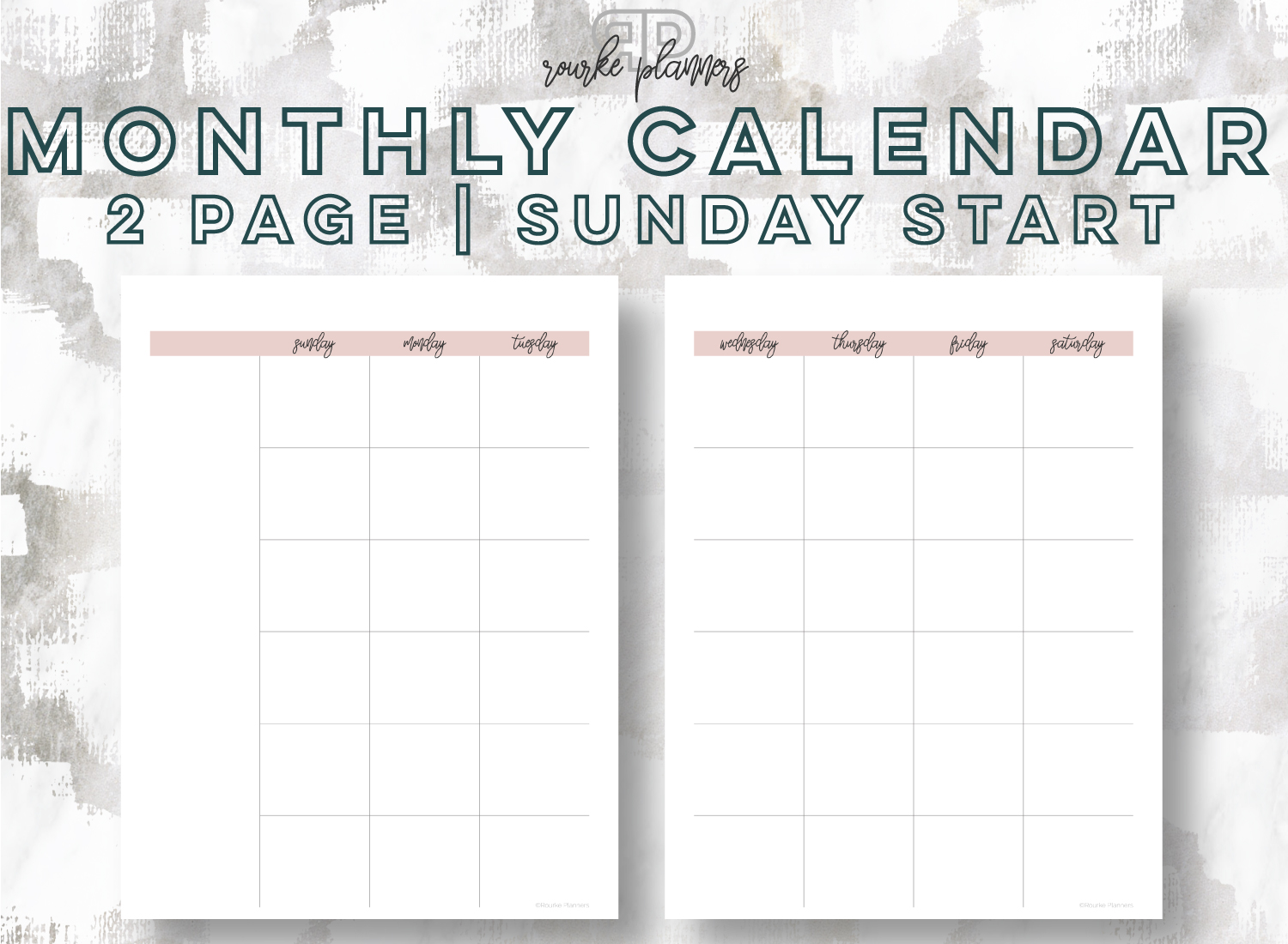 2-Page Monthly Calendar, Sunday Start   Rourke Planners