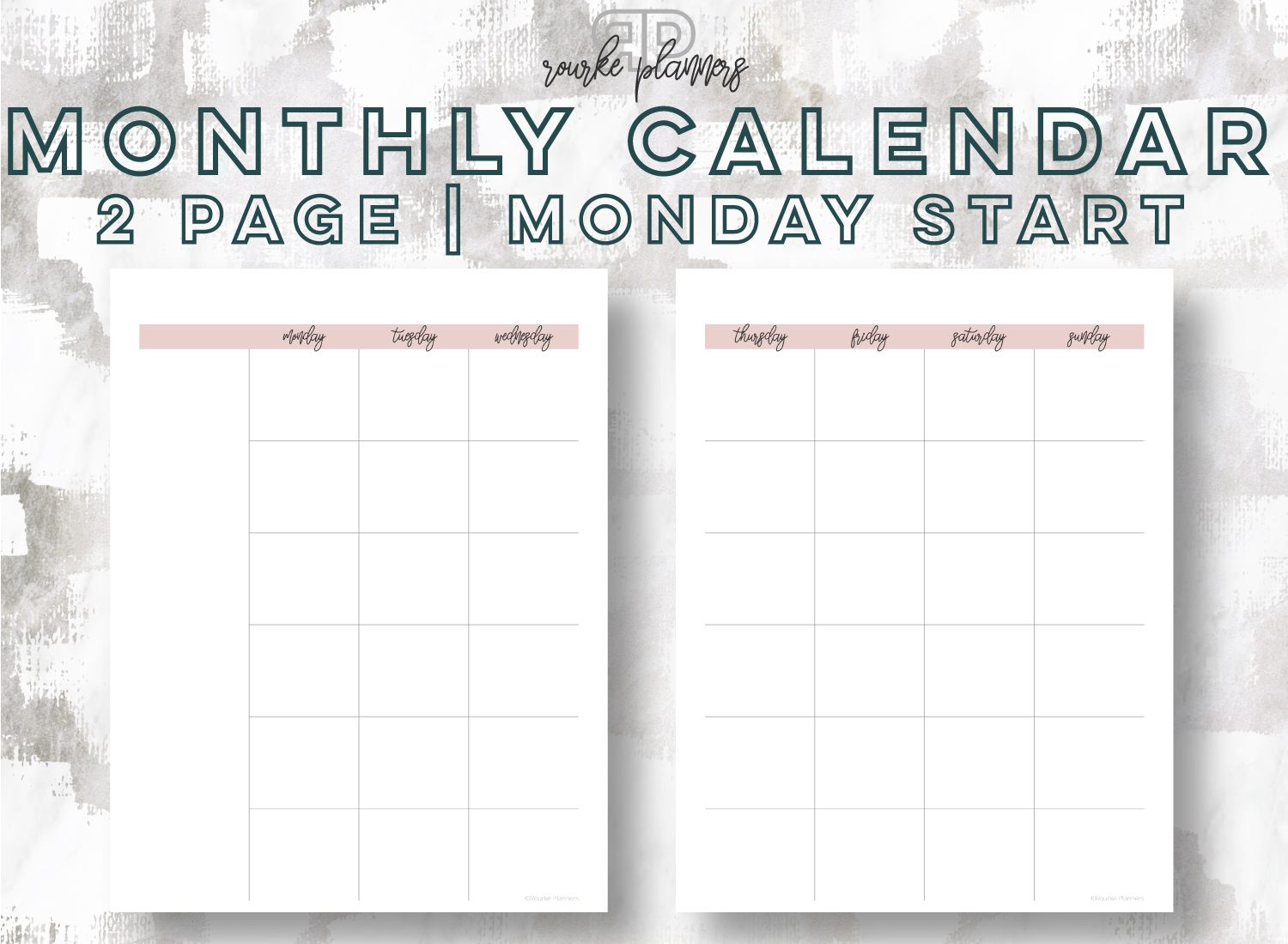 2-Page Monthly Calendar, Monday Start | Rourke Planners