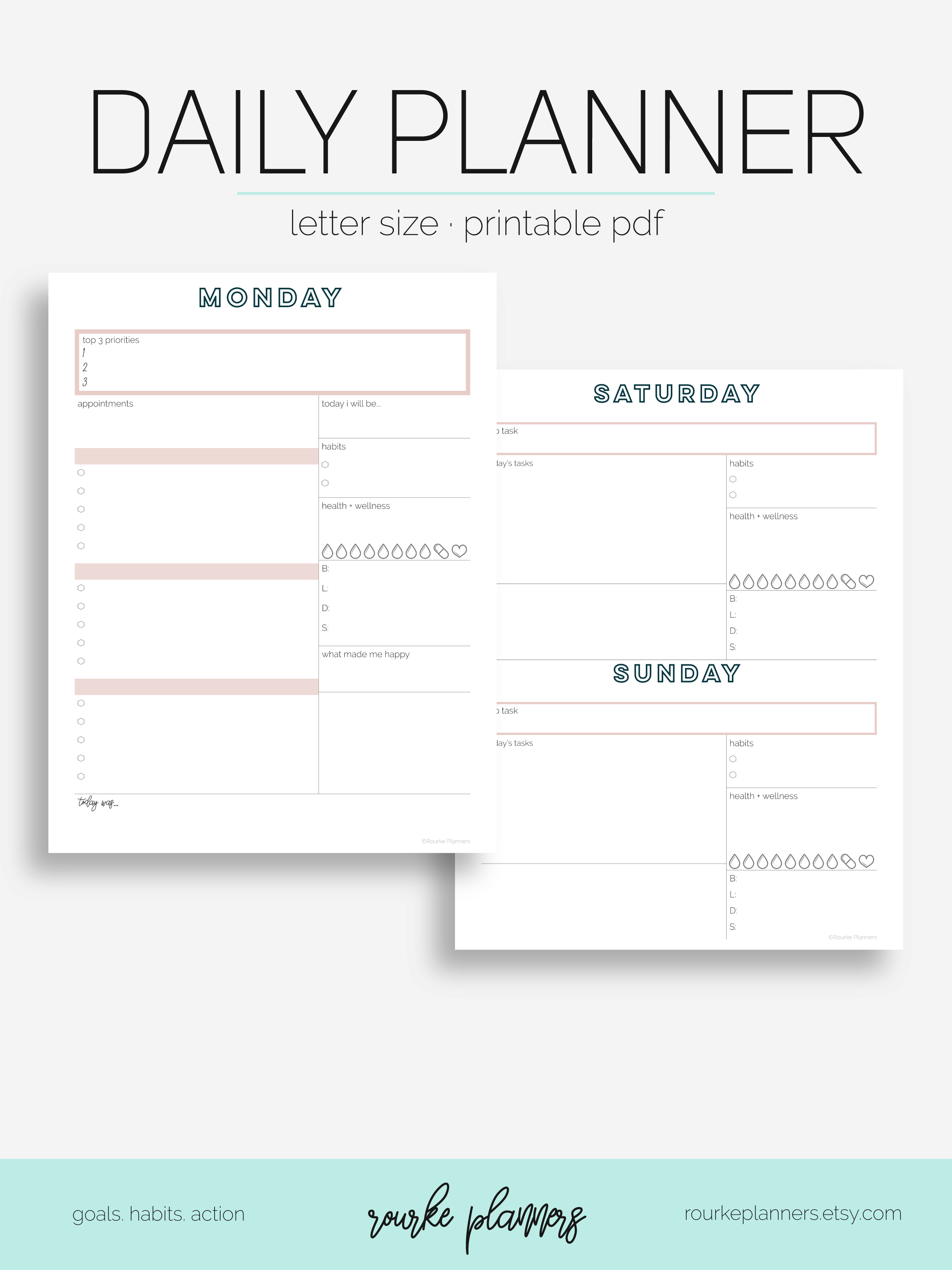 Daily Planner / Letter Size / Undated / Eowyn Style
