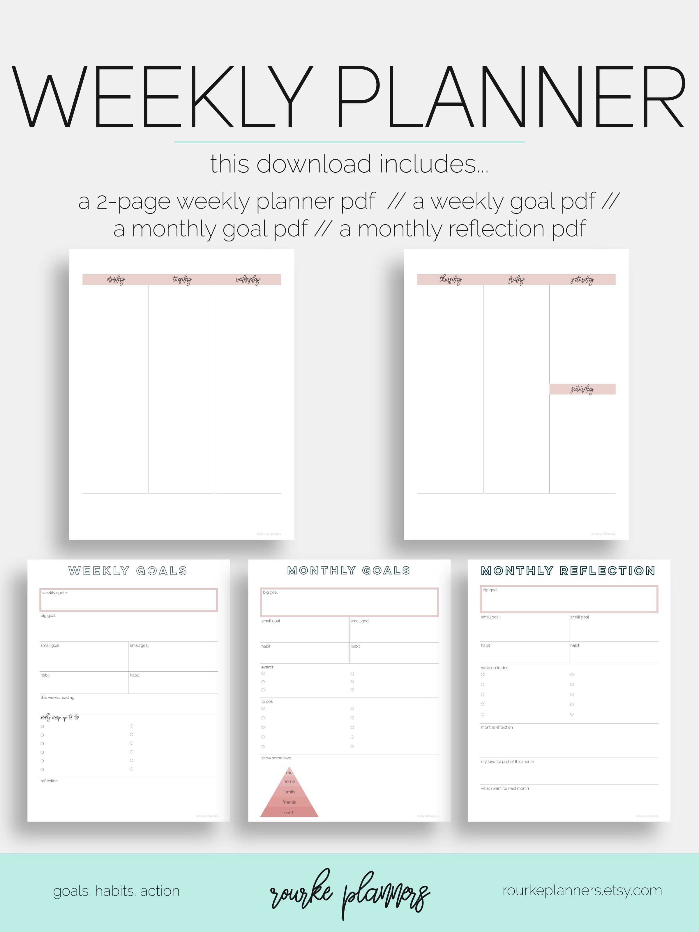 weekly planner vertical #1 / letter size / undated / eowyn collection // rourke planners