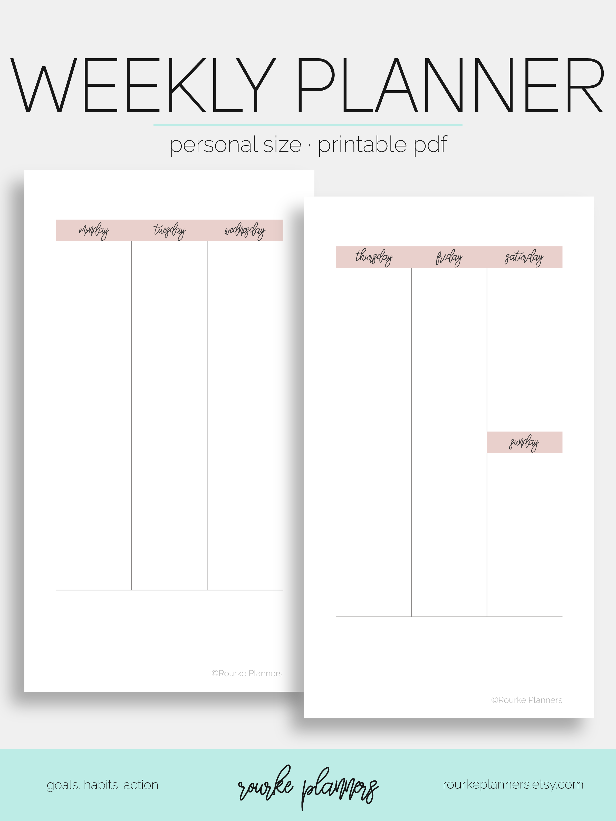 Weekly Vertical Planner #1 / Personal Size / Undated / Eowyn Collection // Rourke Planners
