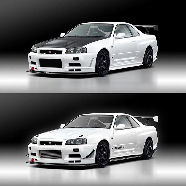 Spot the differences? 🤔 Comparing different iterations of @skyline_bnr584's R34 track build. So clean! #nissangtr #nissangtr #skylinegtr #gtr #porsche #supercars