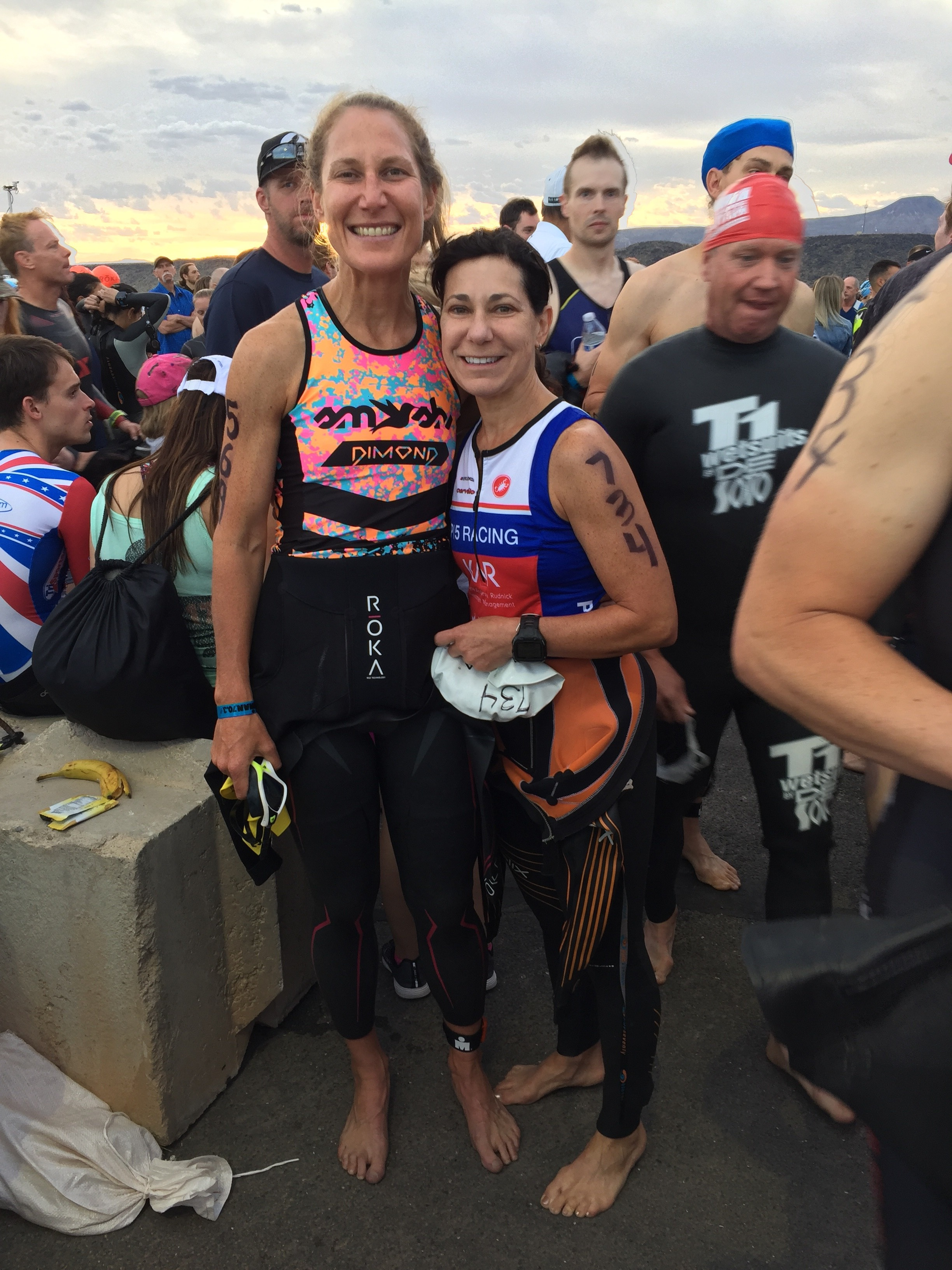 My friend Cathy and yours truly before the swim.
