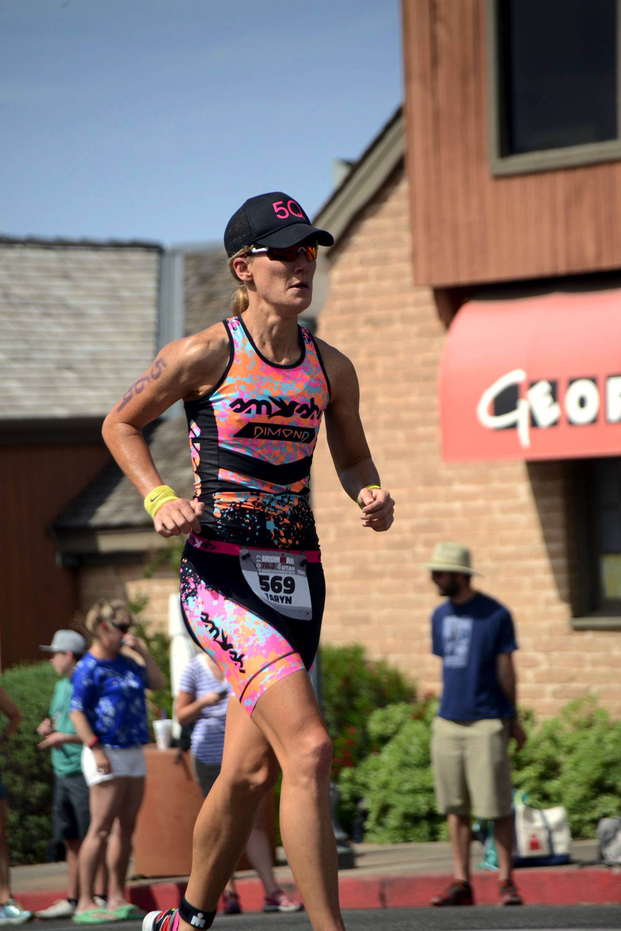 Heading out on the run course wearing the sickest kit on the course!