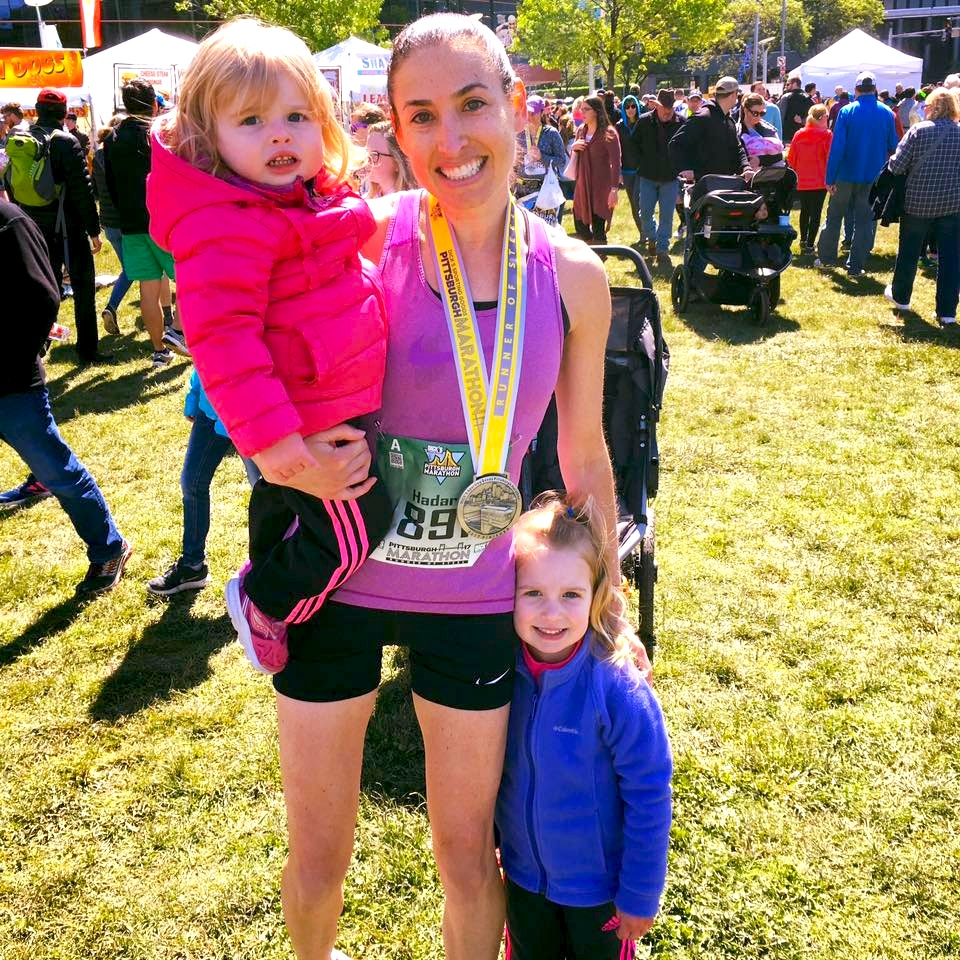 Hadara and her two girls, Mara and Jaela, after the Pittsburgh marathon, 2017.