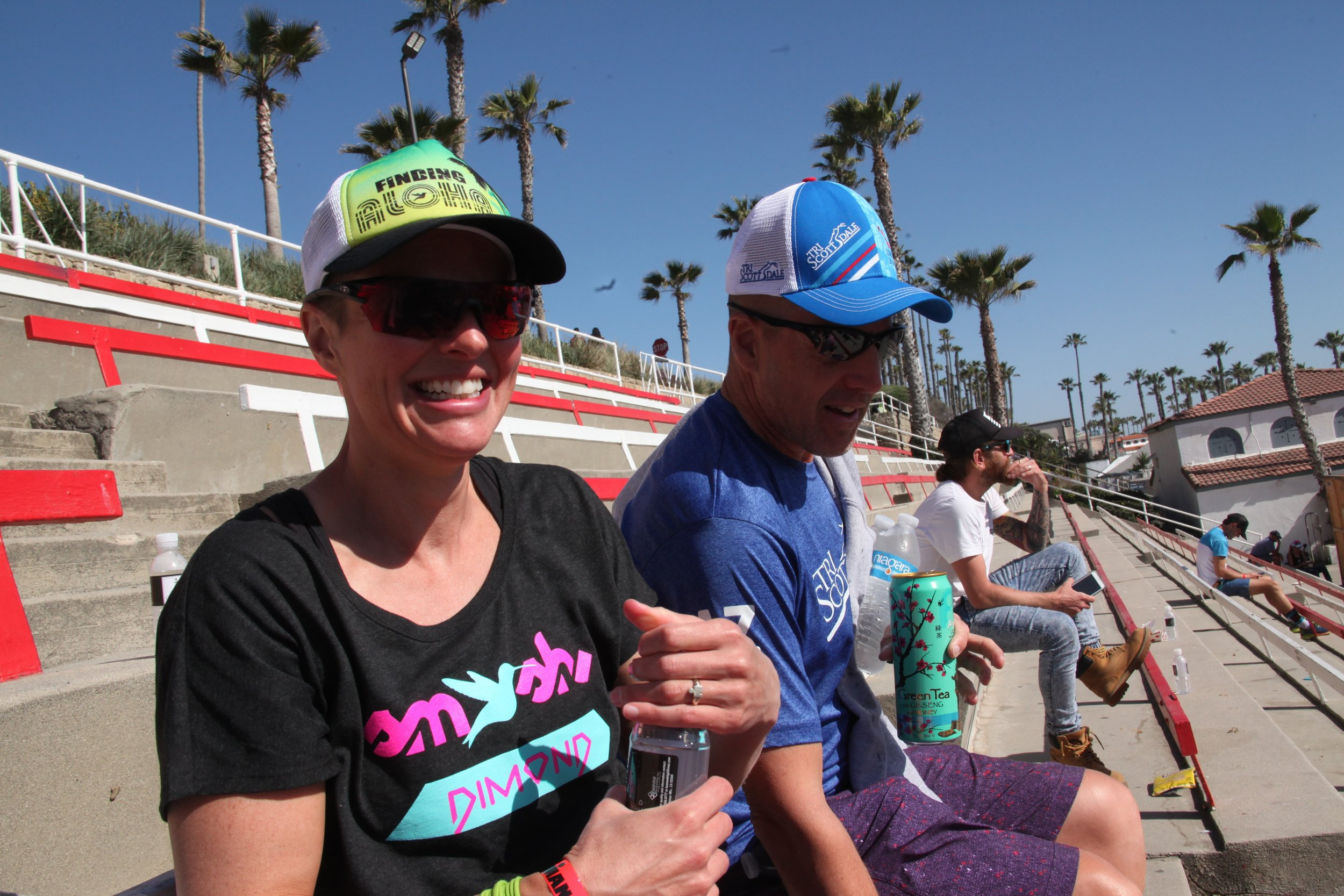 Mary and Dan at the Oceanside 70.3 awards ceremony.