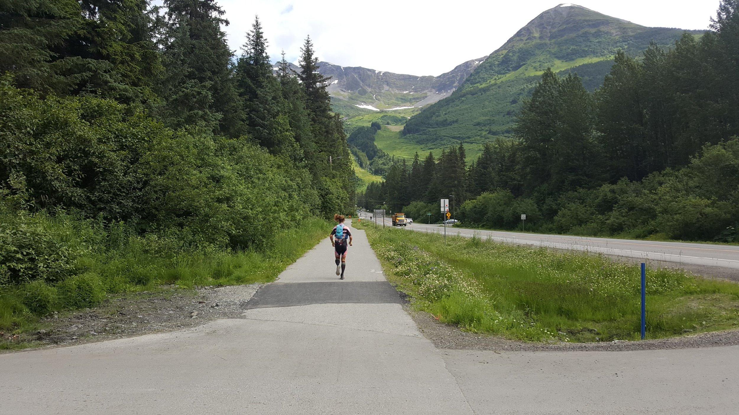 Finally feeling decent on my way toward the mountain. Photo courtesy of Mary Knott.