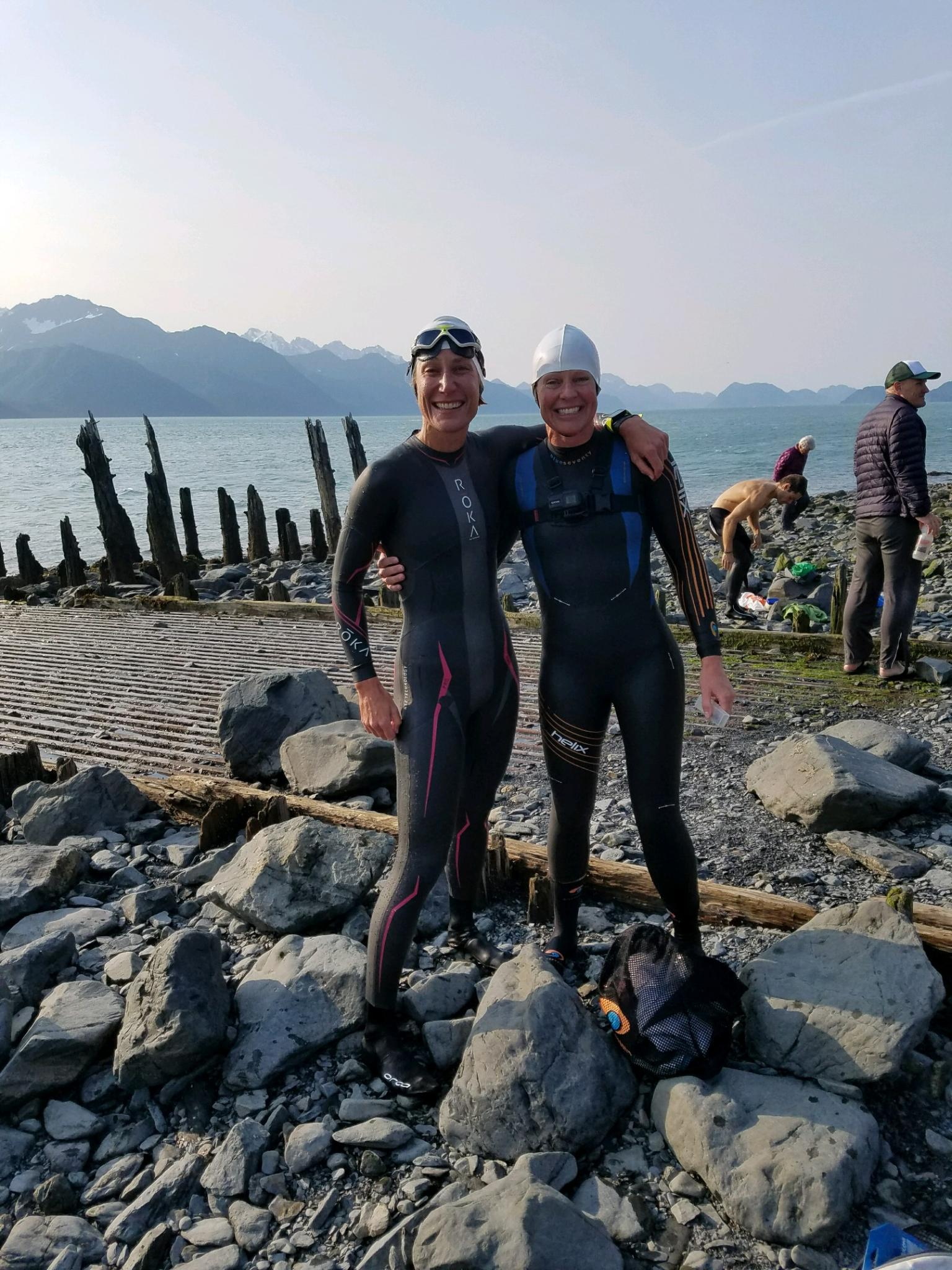Mary and I moments after our first time swimming in the frigid waters of Resurrection Bay in Seward, Alaska.