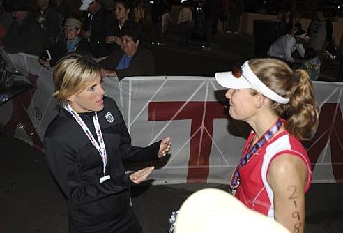 Hillary breaking it all down post Ironman Arizona, 2010.