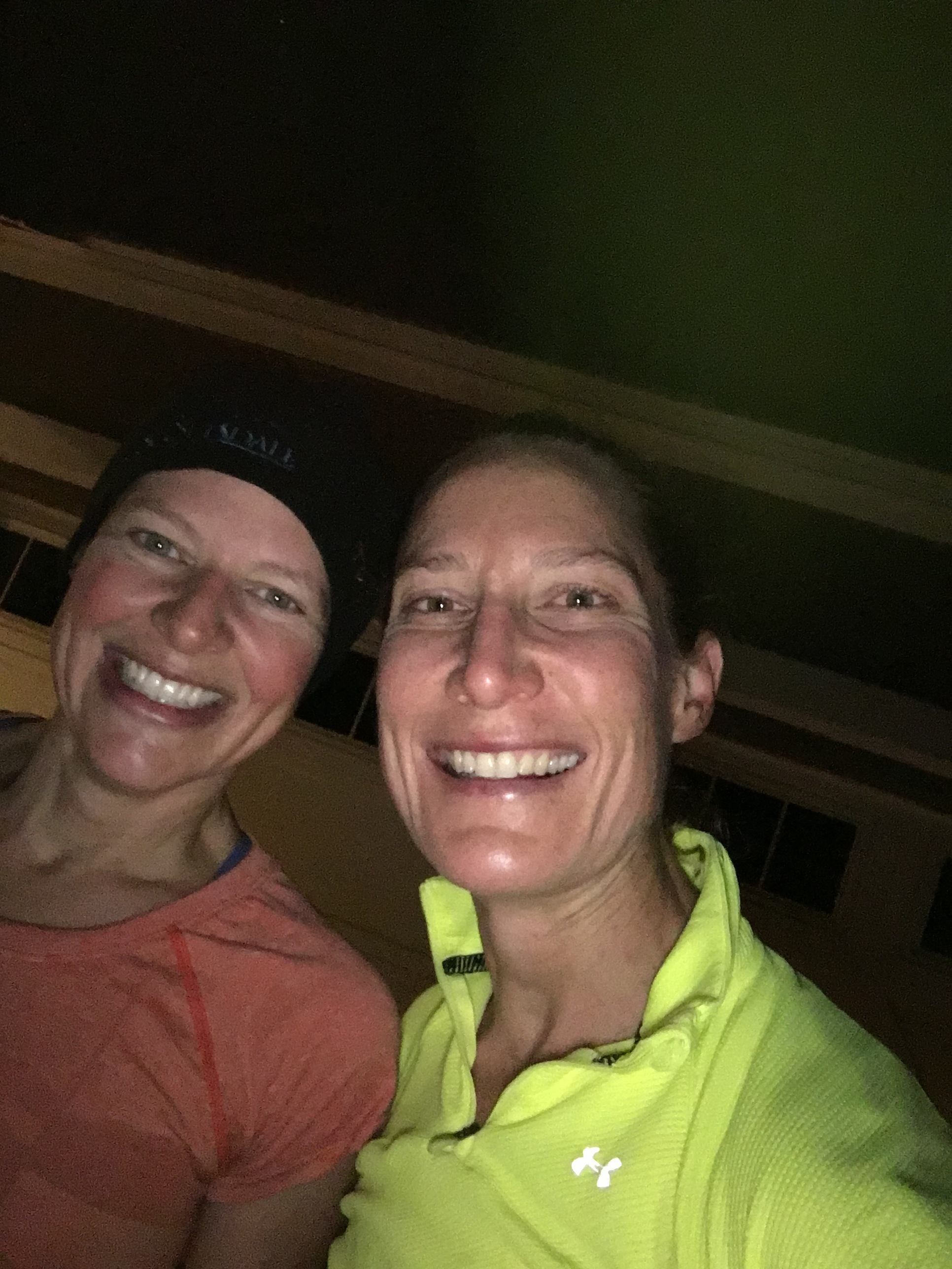 Mary and I all smiles at 6:20AM just after smashing our run. *Please note the lack of sunshine.*