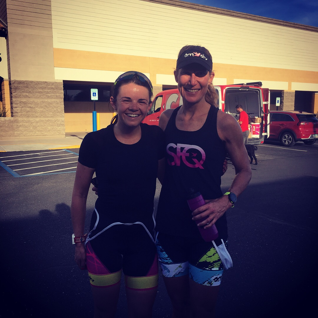 The up and coming pro triathlete, Molly Supple and her appreciative running partner.