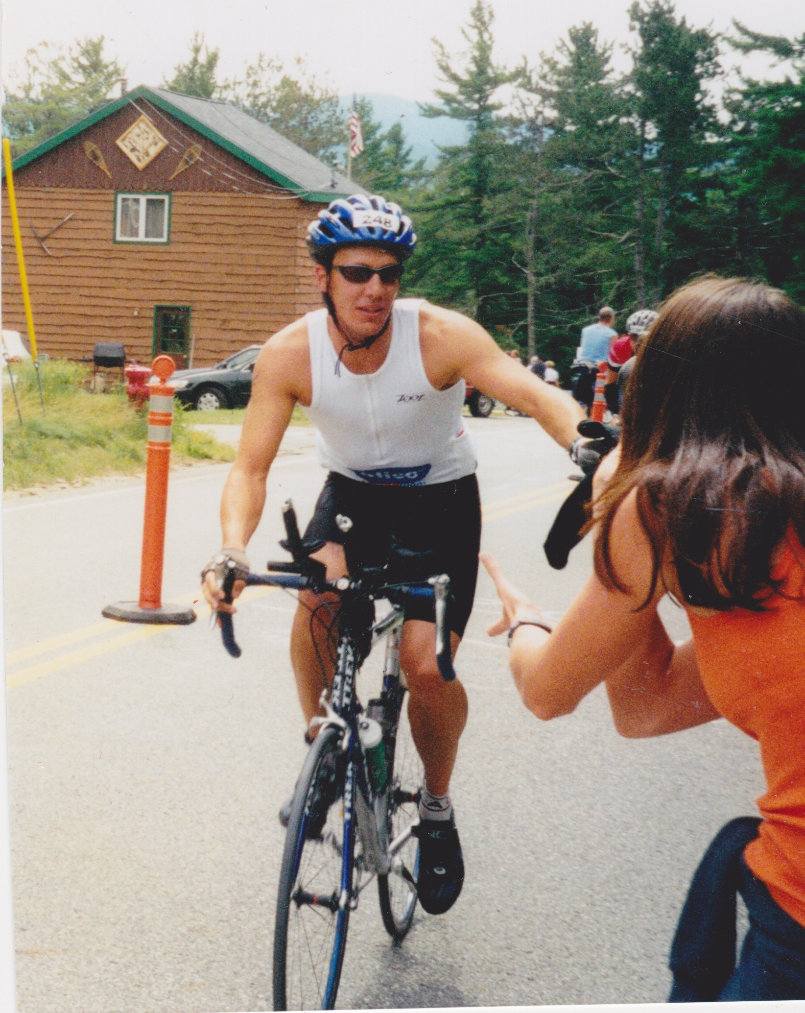 My brother Peter laying it down on the bike course at Ironman Lake Placid, 2004.