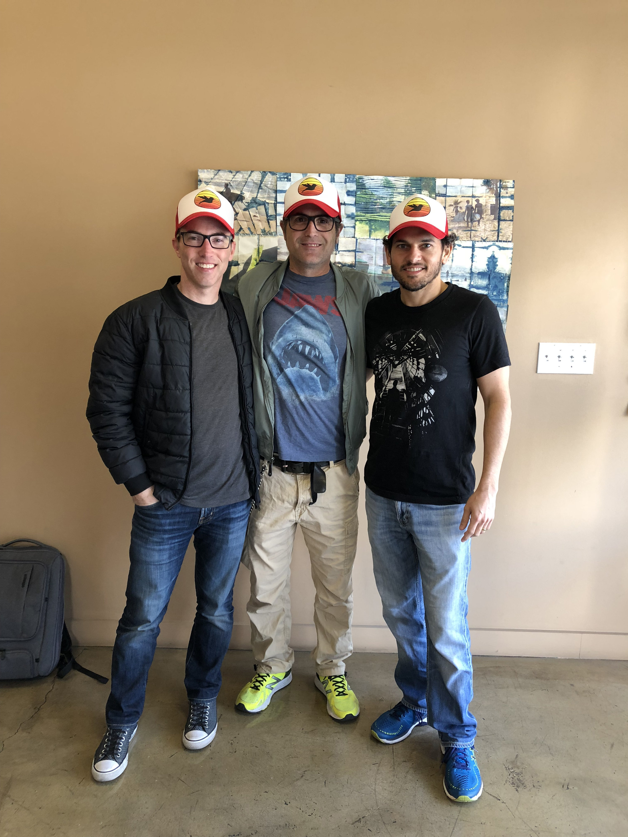 The VFX producer, Terron Pratt, Marion, and the head VFX Supervisor and 2nd Unit Director, Jabbar Raisani rocking their favorite hats.:)