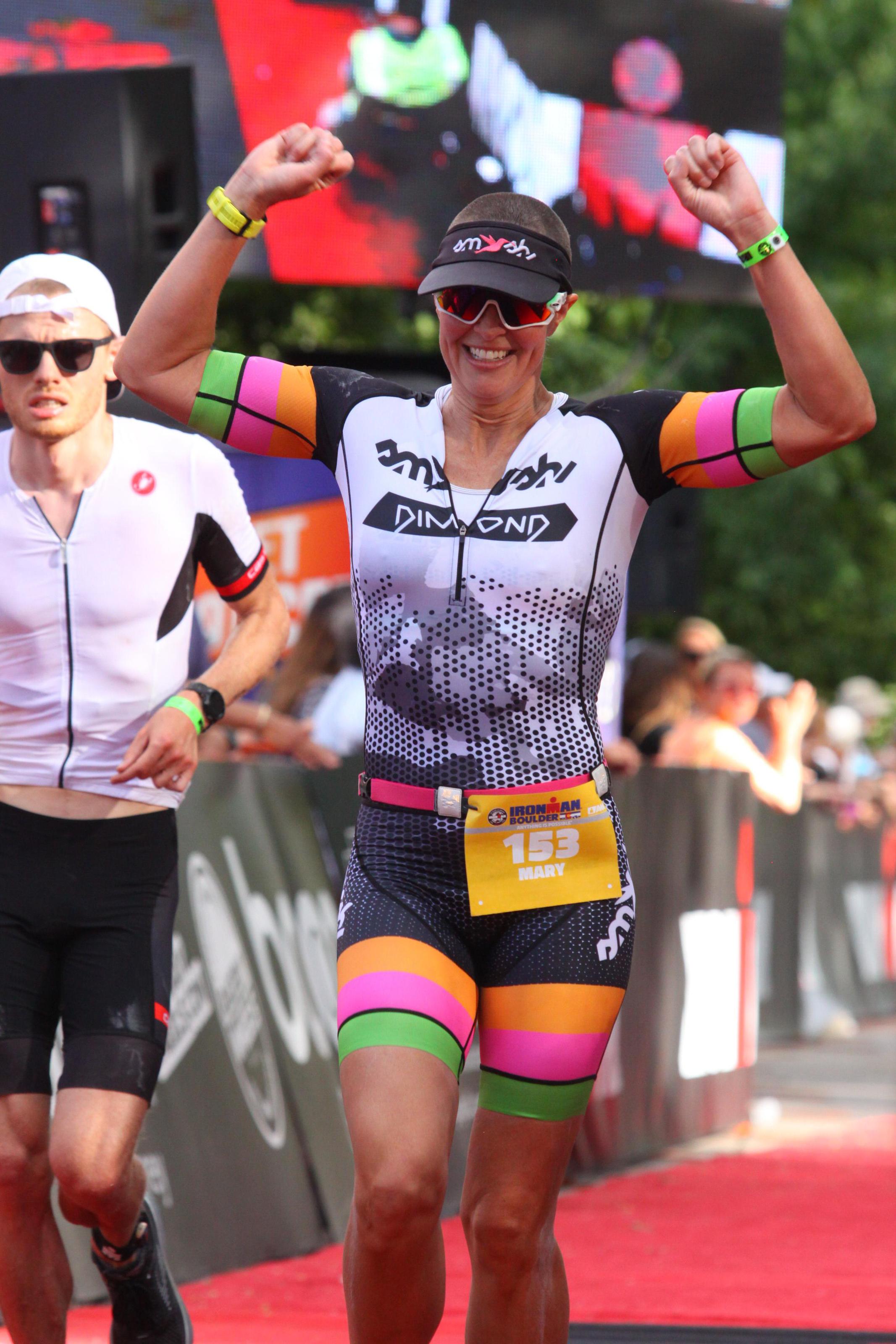 Mary's magical smile lighting the way toward the finish. Photo courtesy of Mary Knott.