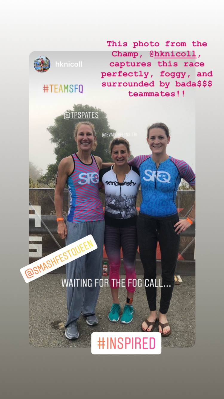 In transition waiting for the fog to lift with my teammates, Eva Frieden and Hallie Nicoll. Photo courtesy of Hallie Nicoll.