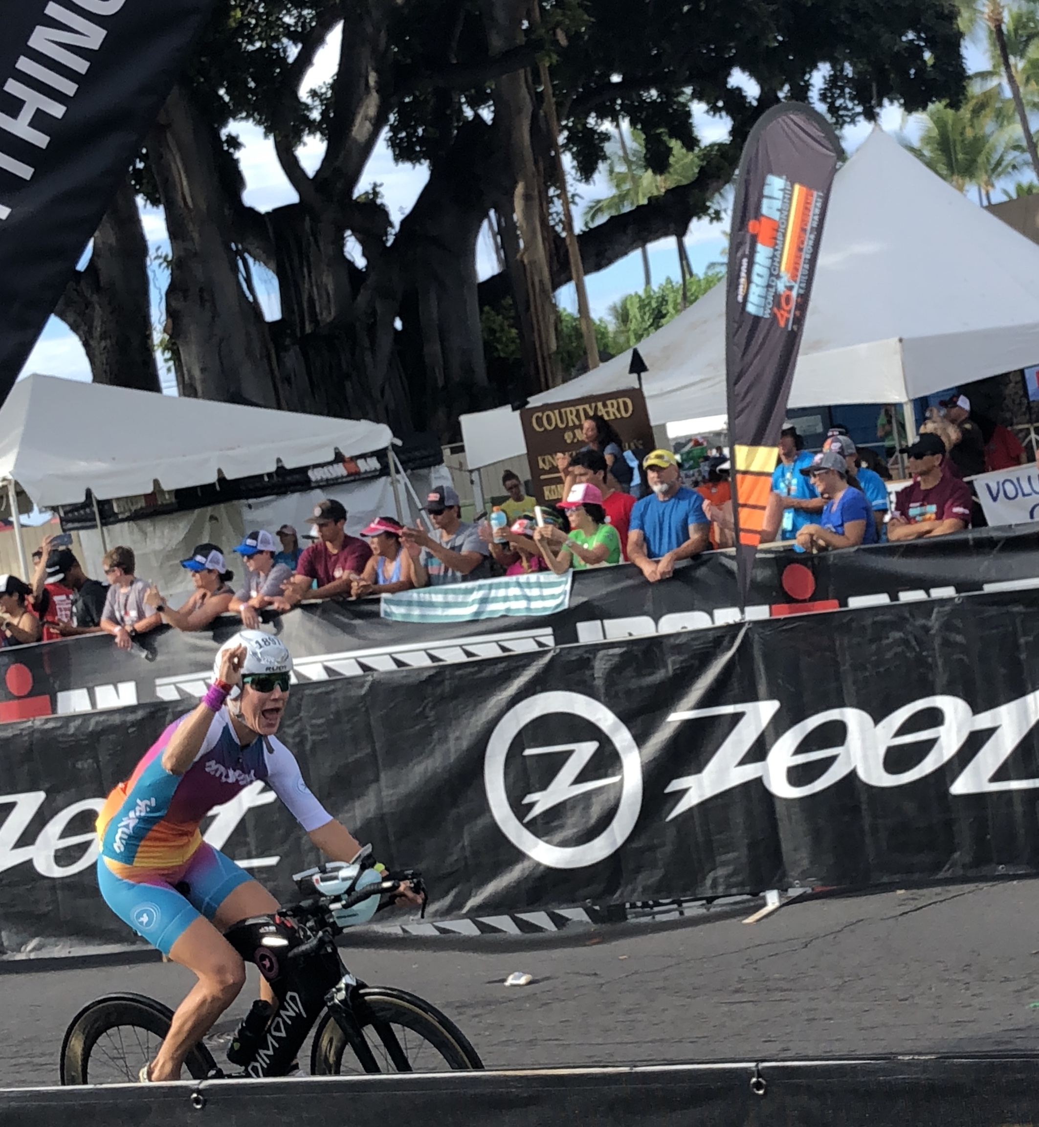 Pedaling out of transition.