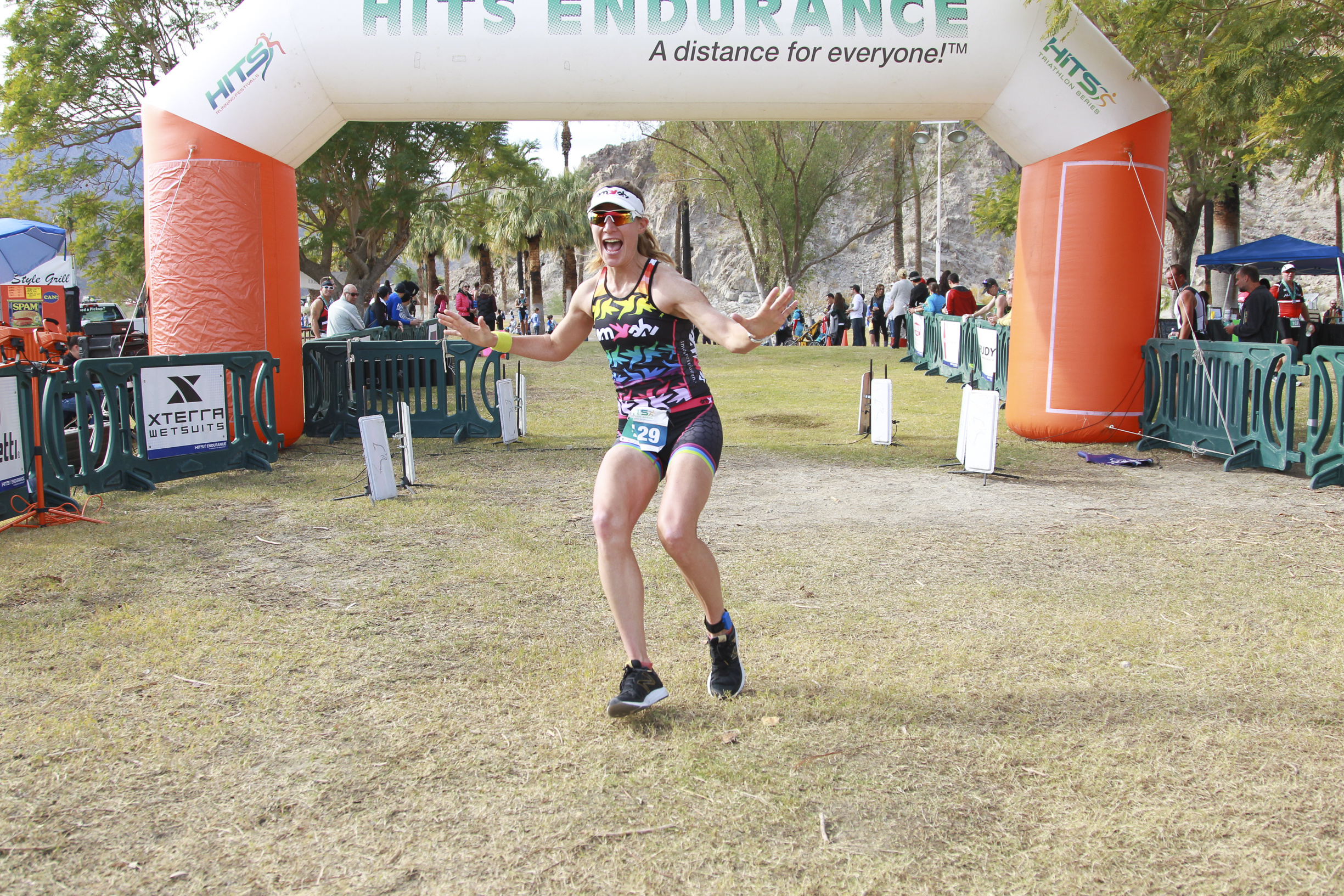 """HITS Olympic Distance triathlon finish, 2015. The first race back to triathlon after a near two year break, which I raced for fun, but got me thinking, """"Maybe I'm not done, yet?"""""""
