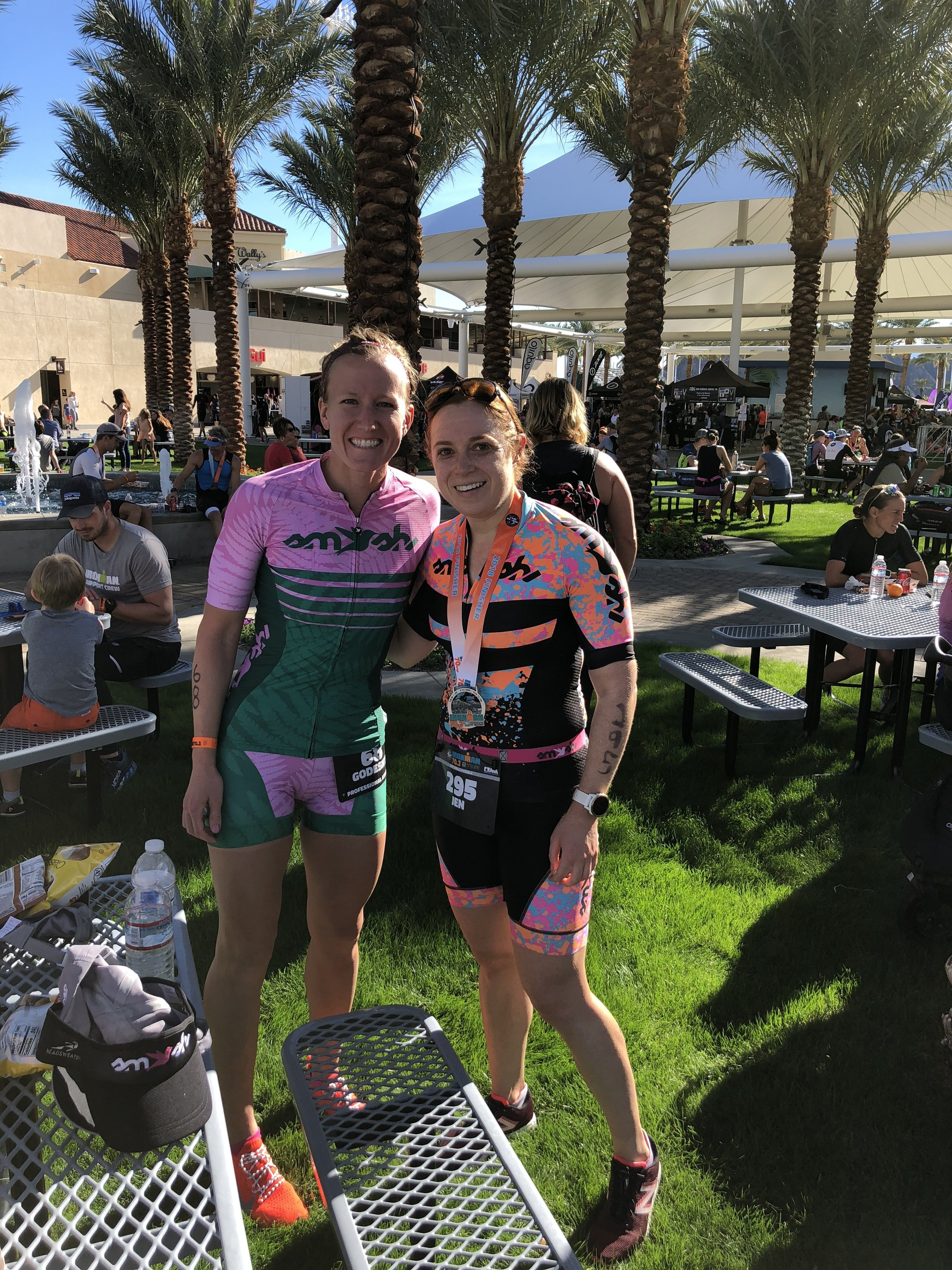 From left, my teammate's professional triathlete Alyssa Godesky, and her athlete, the amazing, Jennifer Madeline.