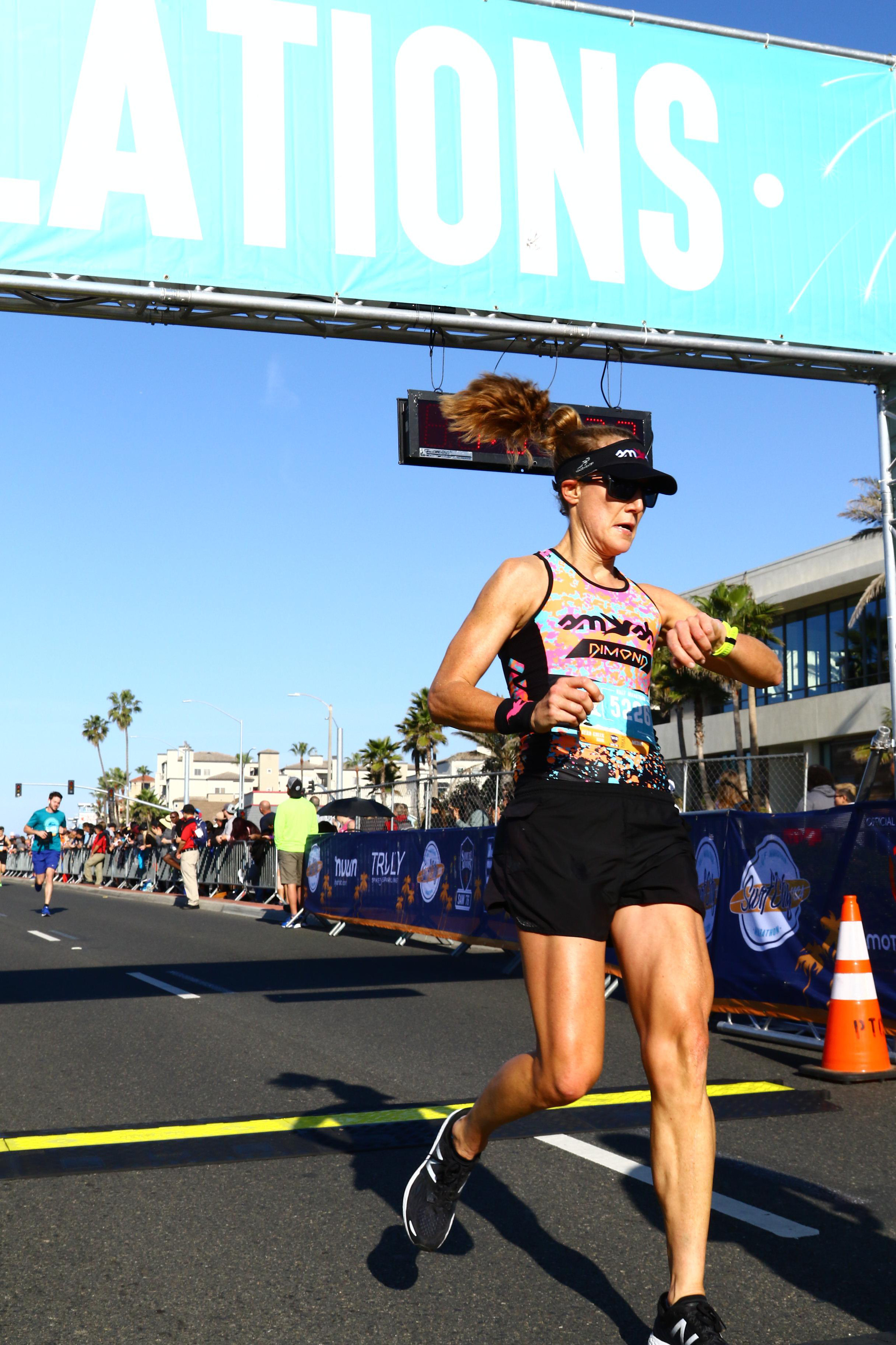 Last year's finish at the Surf City Half Marathon in Huntington Beach.