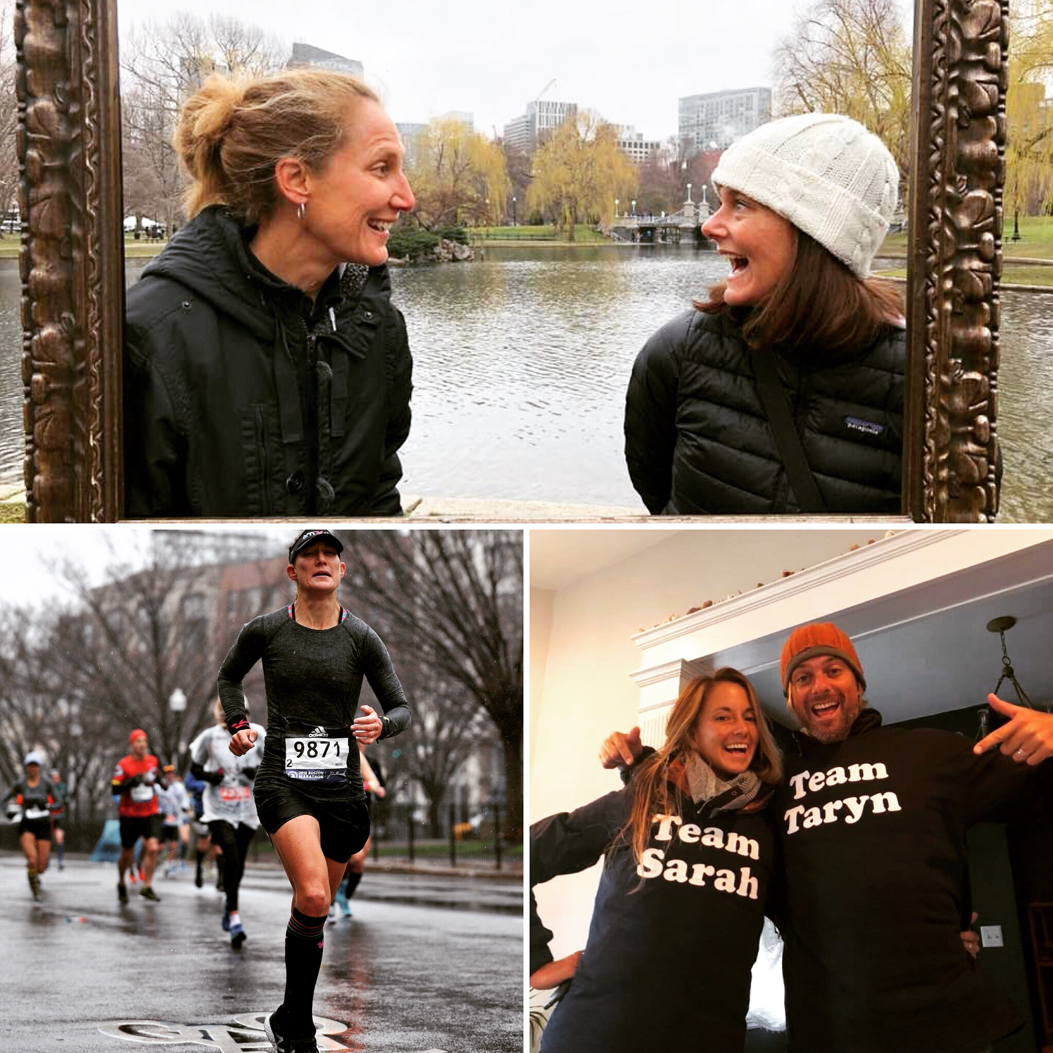 Top, yours truly and my sister Sarah, AKA, two Boston marathon 2018 finishers. Bottom left, a soaked runner nearly to the finish. Bottom right, my brother Bo and his AMAZING wife, Carly, who flew in from Nicaragua to watch us run. The photographers were my fantastic father and step mom, Sally, the ones who started all of the running in our family.