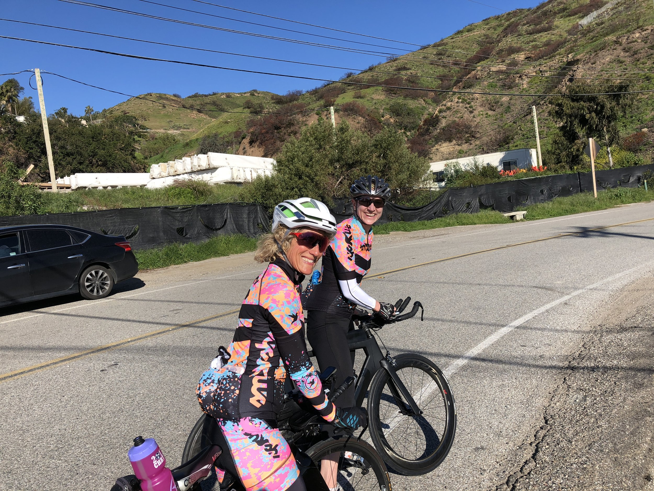 My teammate's Lynne Fiedler and Kat Zeiler, just before chomping up our first climb on Sunday, Latigo Canyon.