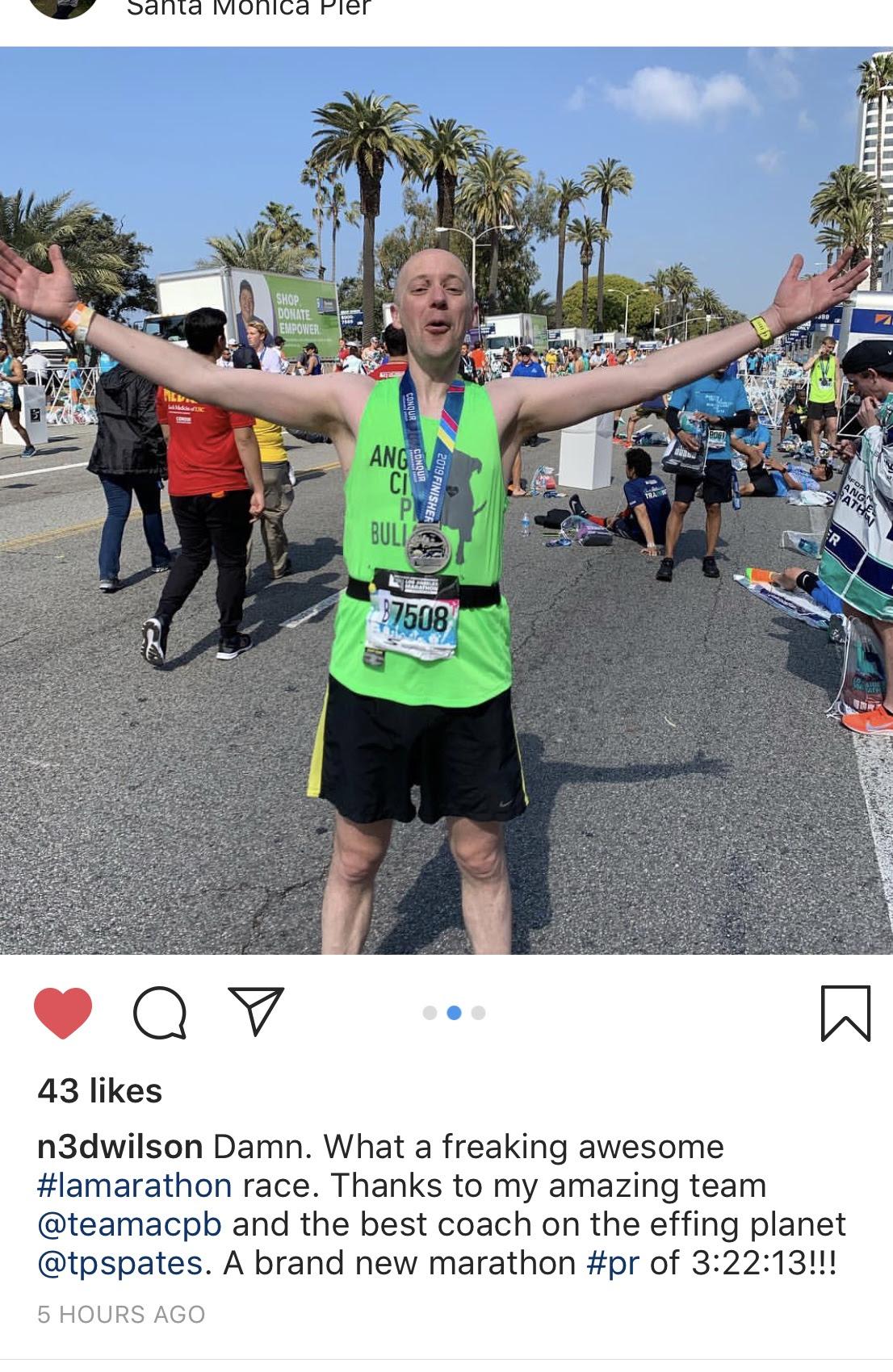 Ned Wilson, moments after smashing his marathon PR at the LA marathon last Sunday.