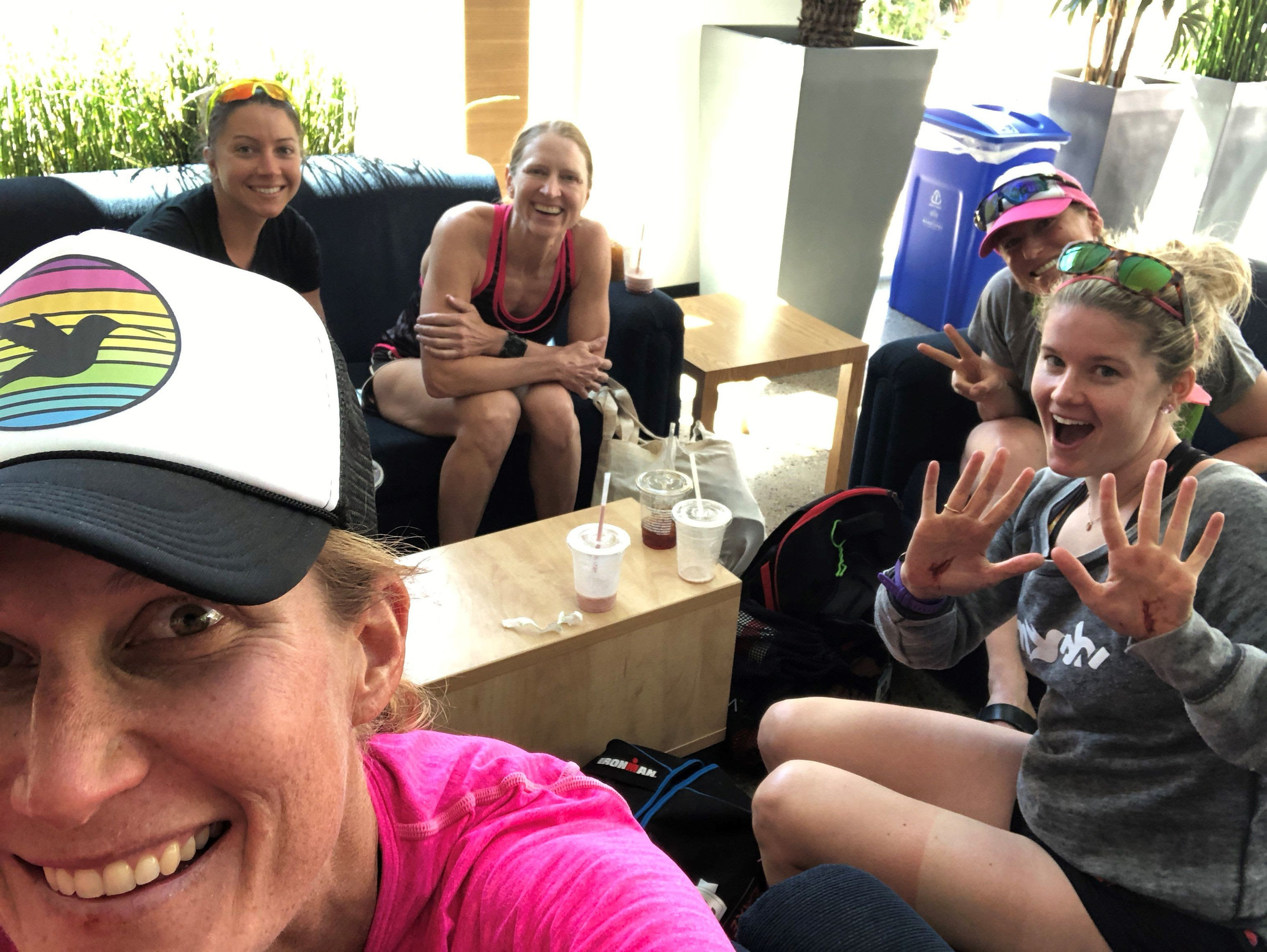 The ladies of Casita 15 chillin' in between workouts. Alysha, Kat, Holly, Eleanor, and me .