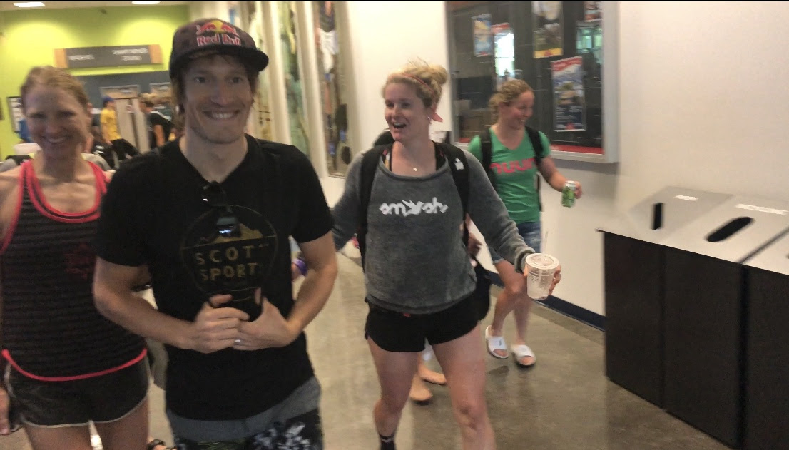 Kat, Sebastian Kienle, Eleanor, and Arielle strolling through the U of A Rec. center.
