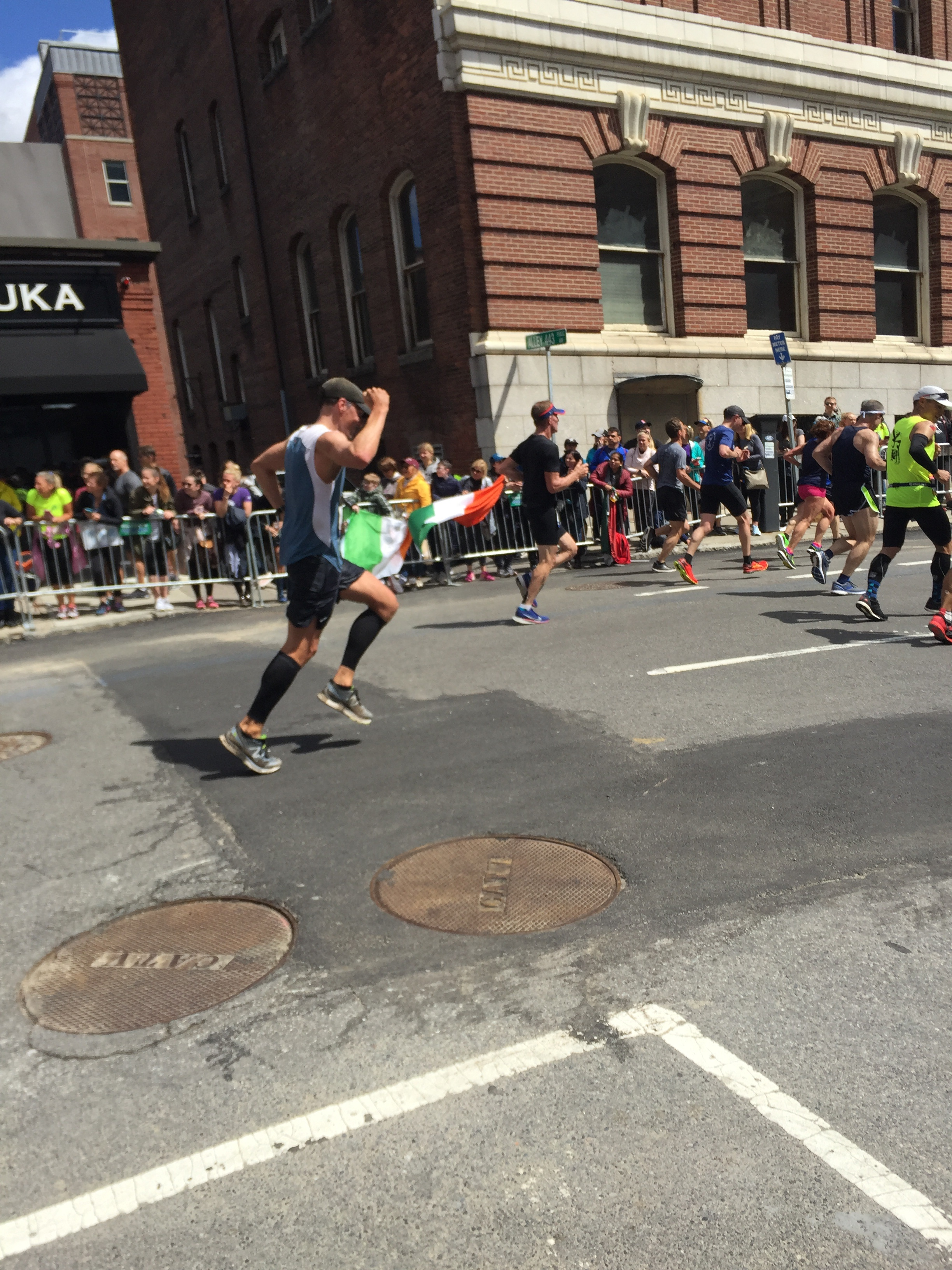 My bro, High School Cross Country Captain, and athlete on his way to his first Boston Marathon finish.