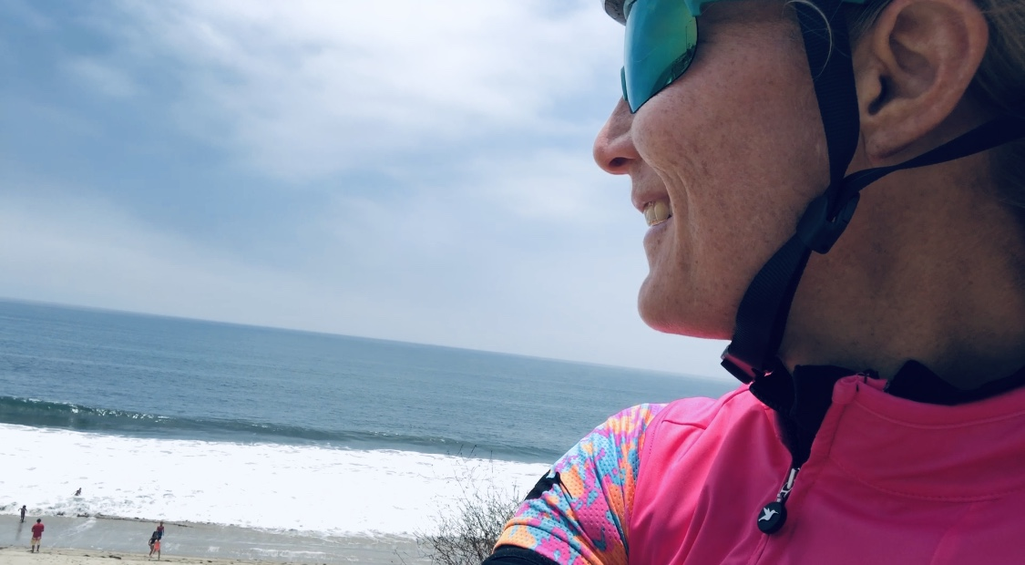 A lucky redhead overlooking the Pacific Ocean on mile 74 of a 76 mile bike ride last Saturday.