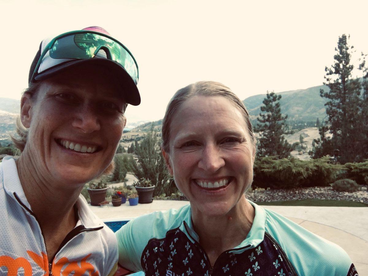 Kat and I post final bike and run training.